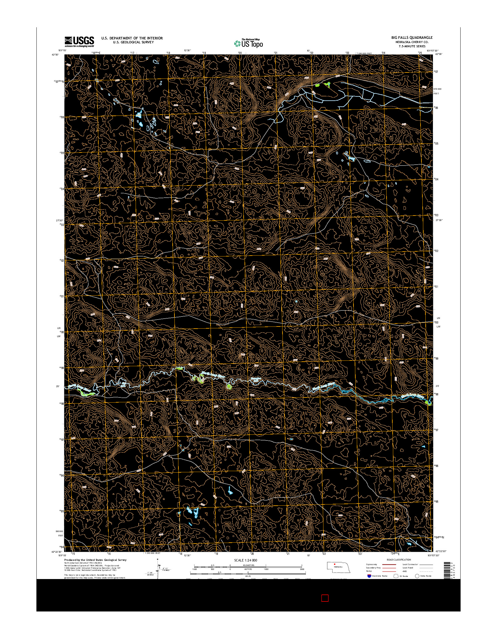 USGS US TOPO 7.5-MINUTE MAP FOR BIG FALLS, NE 2014