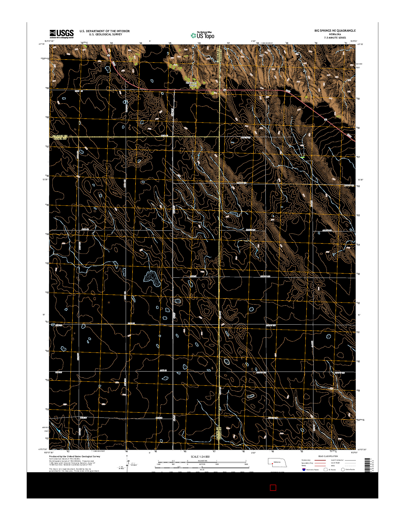 USGS US TOPO 7.5-MINUTE MAP FOR BIG SPRINGS NE, NE 2014