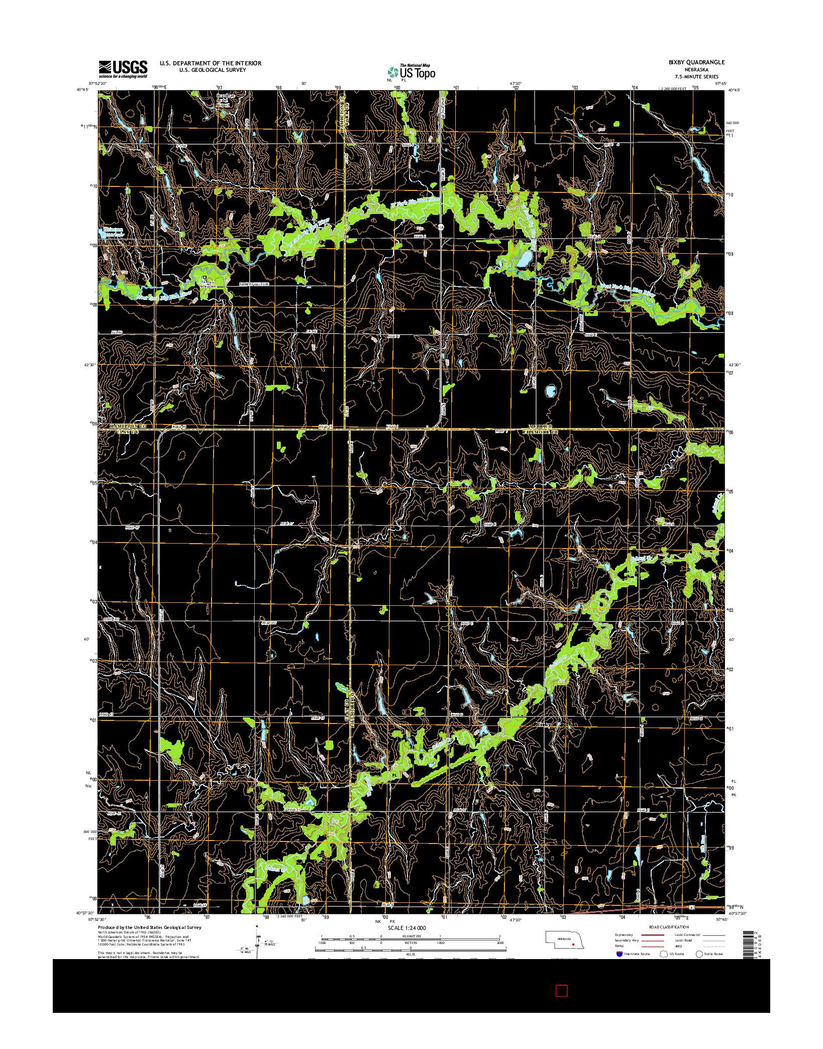 USGS US TOPO 7.5-MINUTE MAP FOR BIXBY, NE 2014
