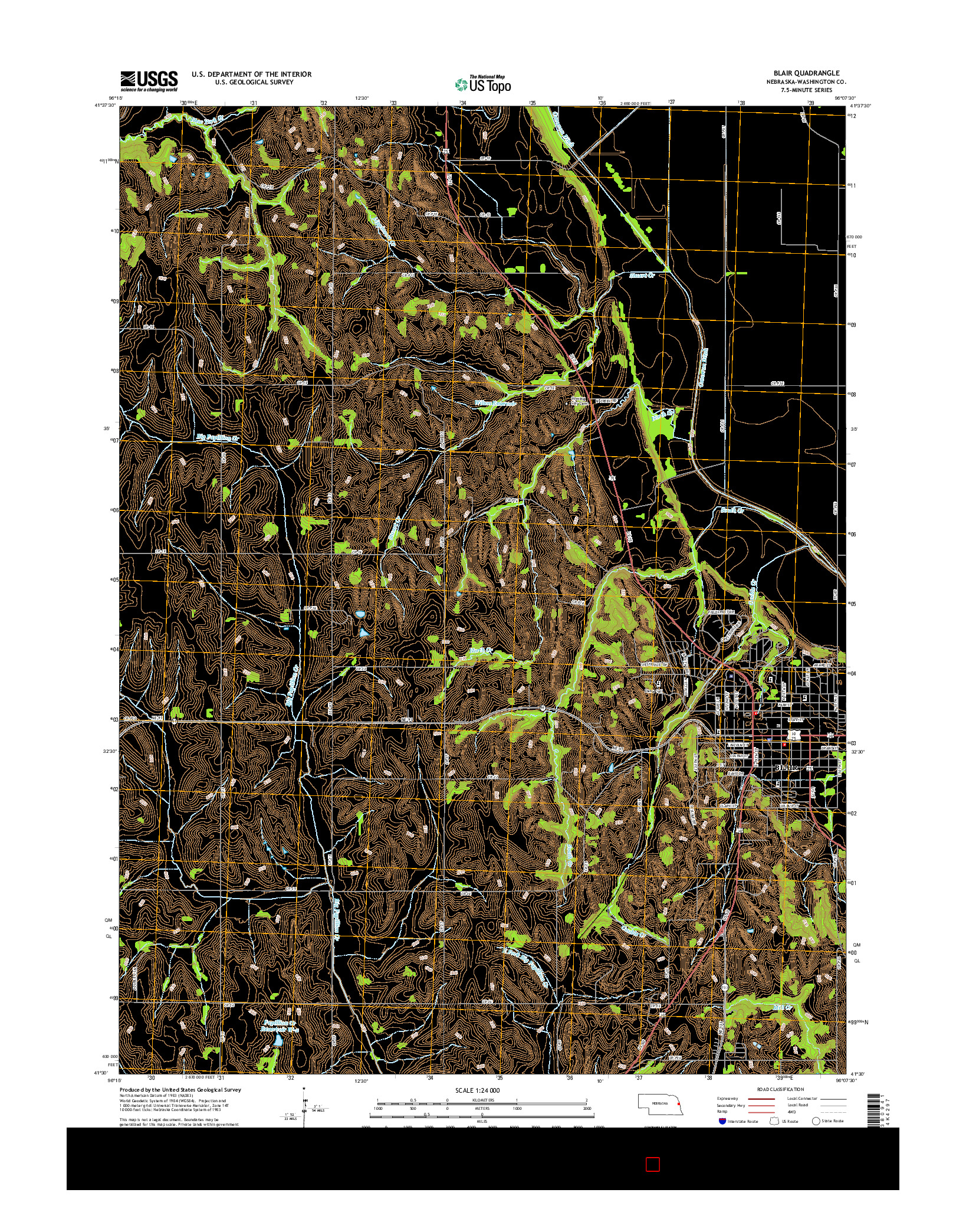 USGS US TOPO 7.5-MINUTE MAP FOR BLAIR, NE 2014