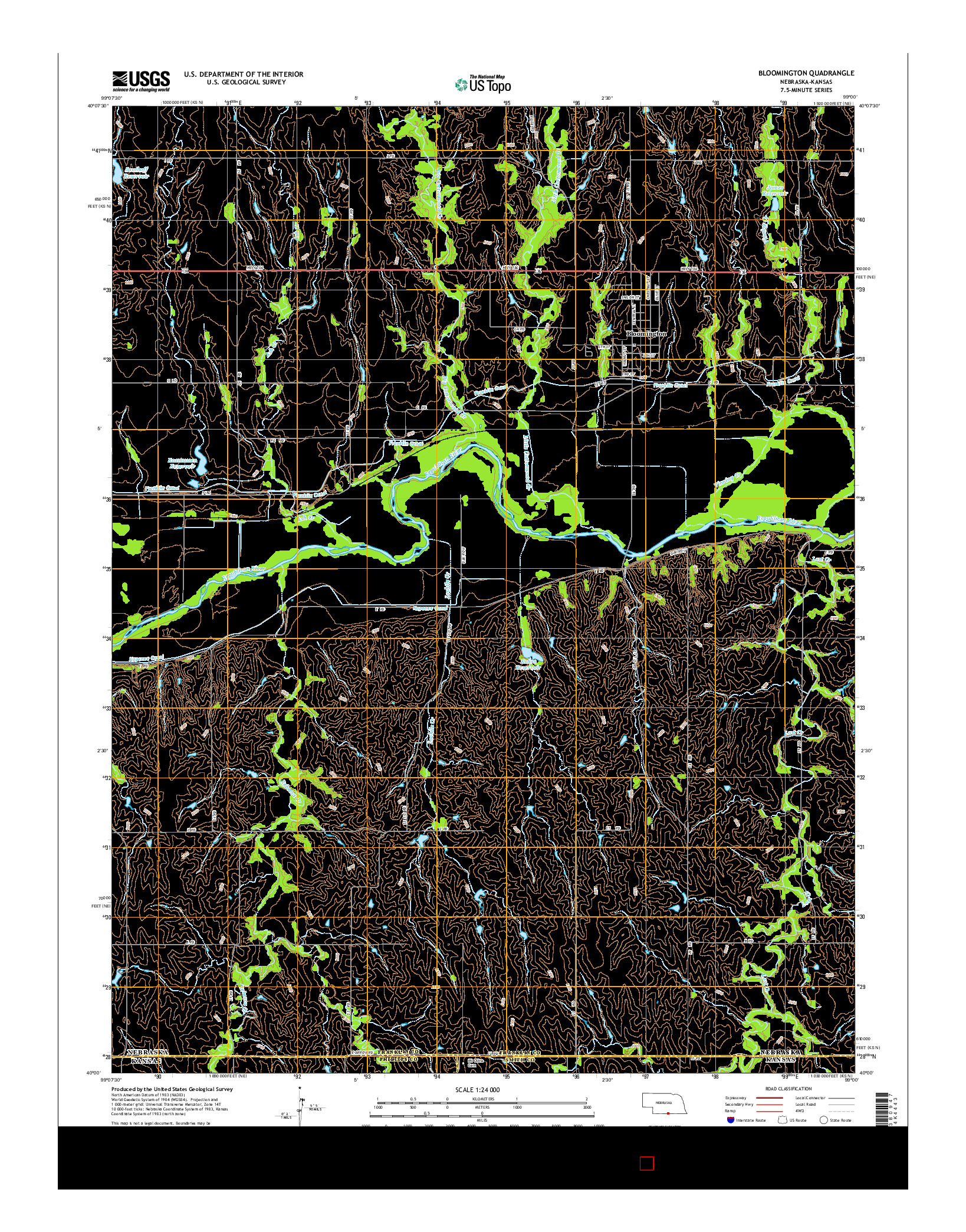 USGS US TOPO 7.5-MINUTE MAP FOR BLOOMINGTON, NE-KS 2014