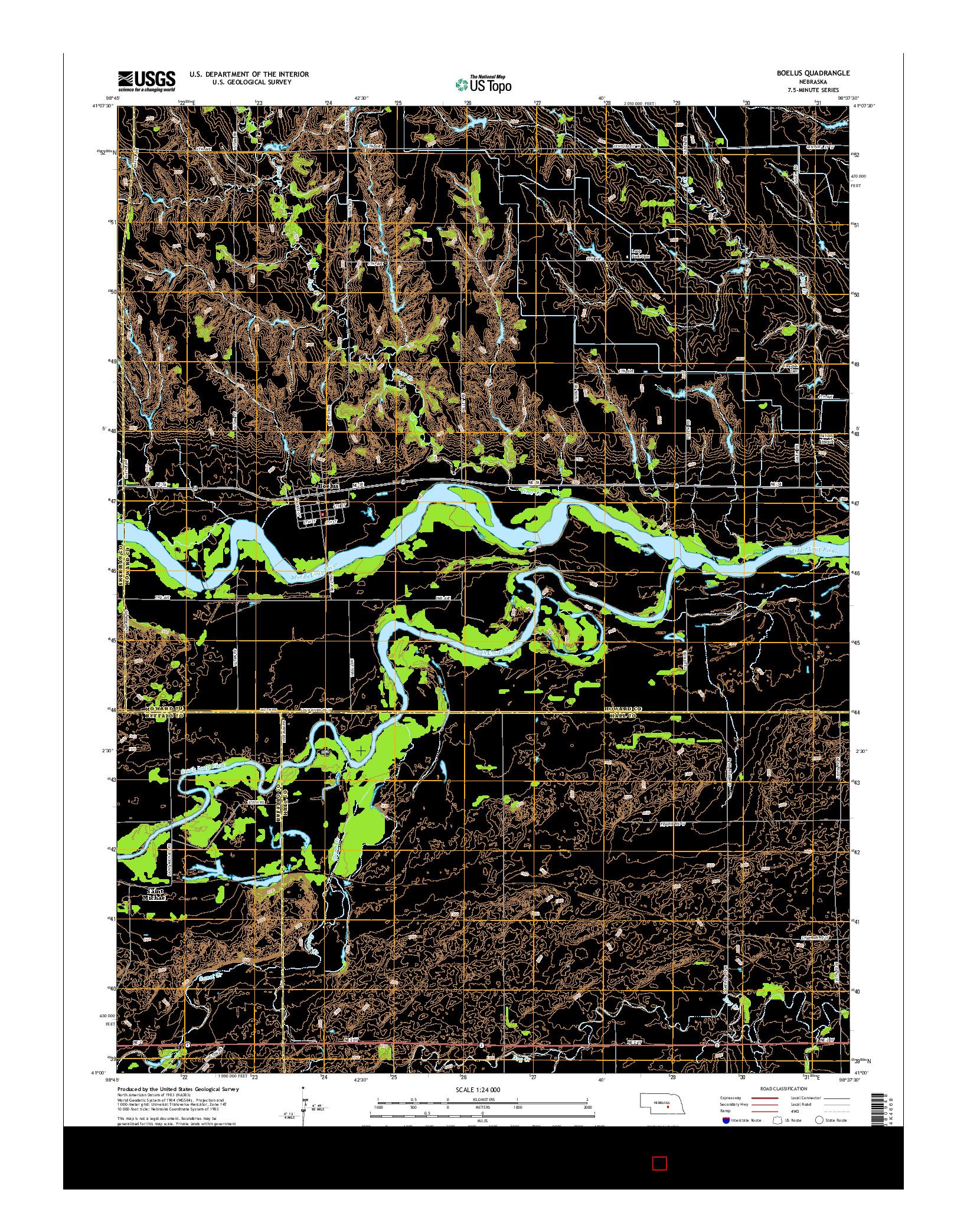 USGS US TOPO 7.5-MINUTE MAP FOR BOELUS, NE 2014