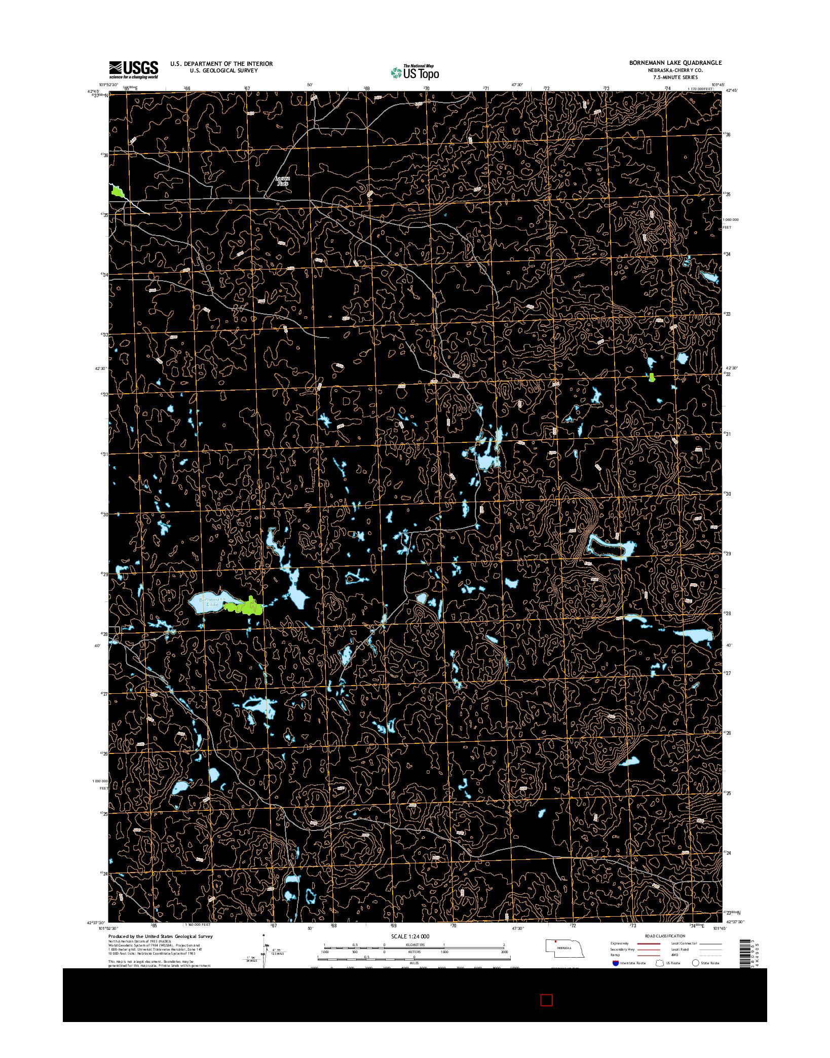 USGS US TOPO 7.5-MINUTE MAP FOR BORNEMANN LAKE, NE 2014
