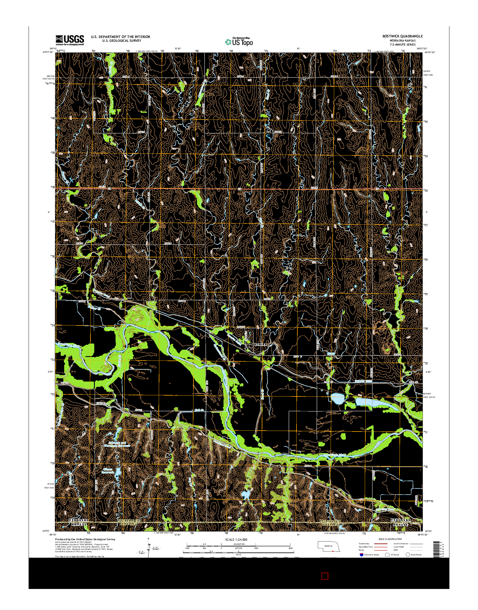 USGS US TOPO 7.5-MINUTE MAP FOR BOSTWICK, NE-KS 2014