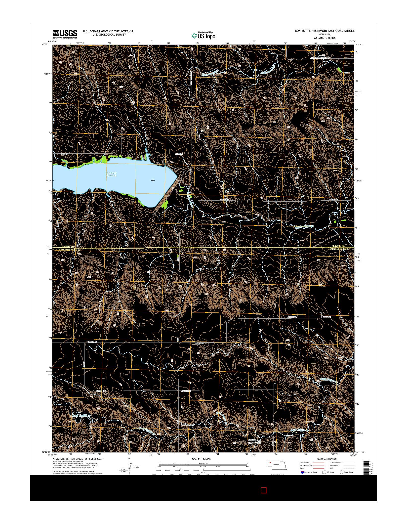 USGS US TOPO 7.5-MINUTE MAP FOR BOX BUTTE RESERVOIR EAST, NE 2014