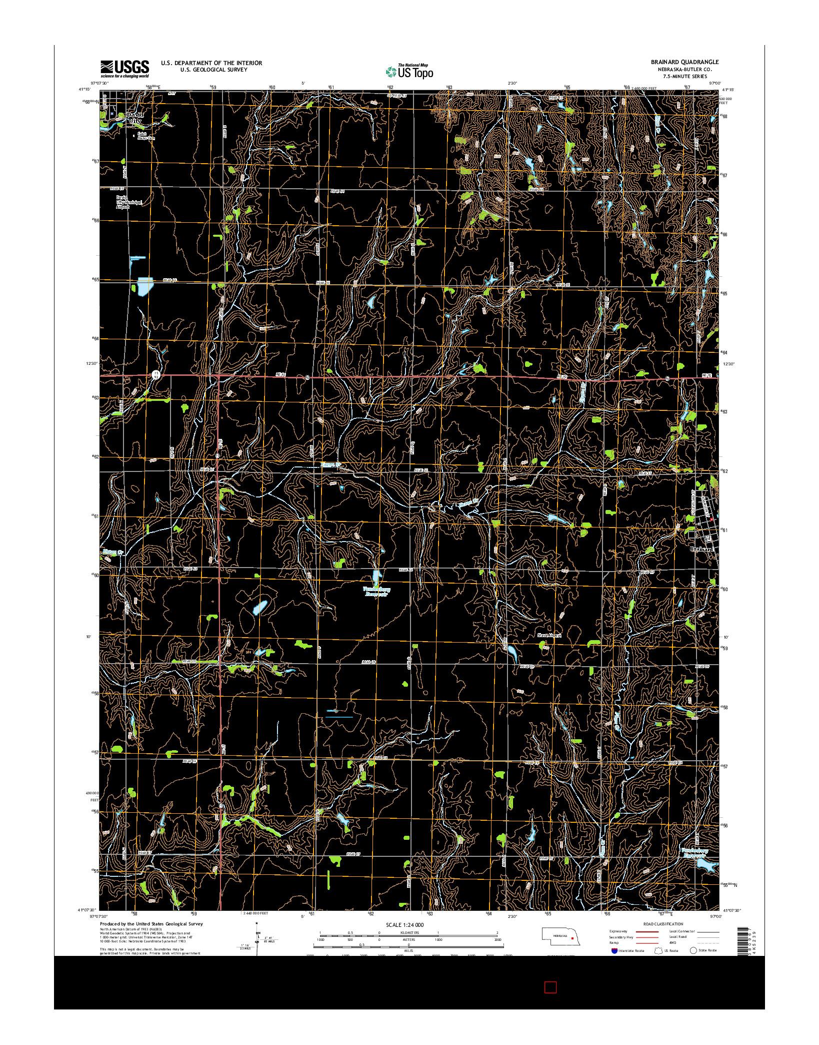 USGS US TOPO 7.5-MINUTE MAP FOR BRAINARD, NE 2014