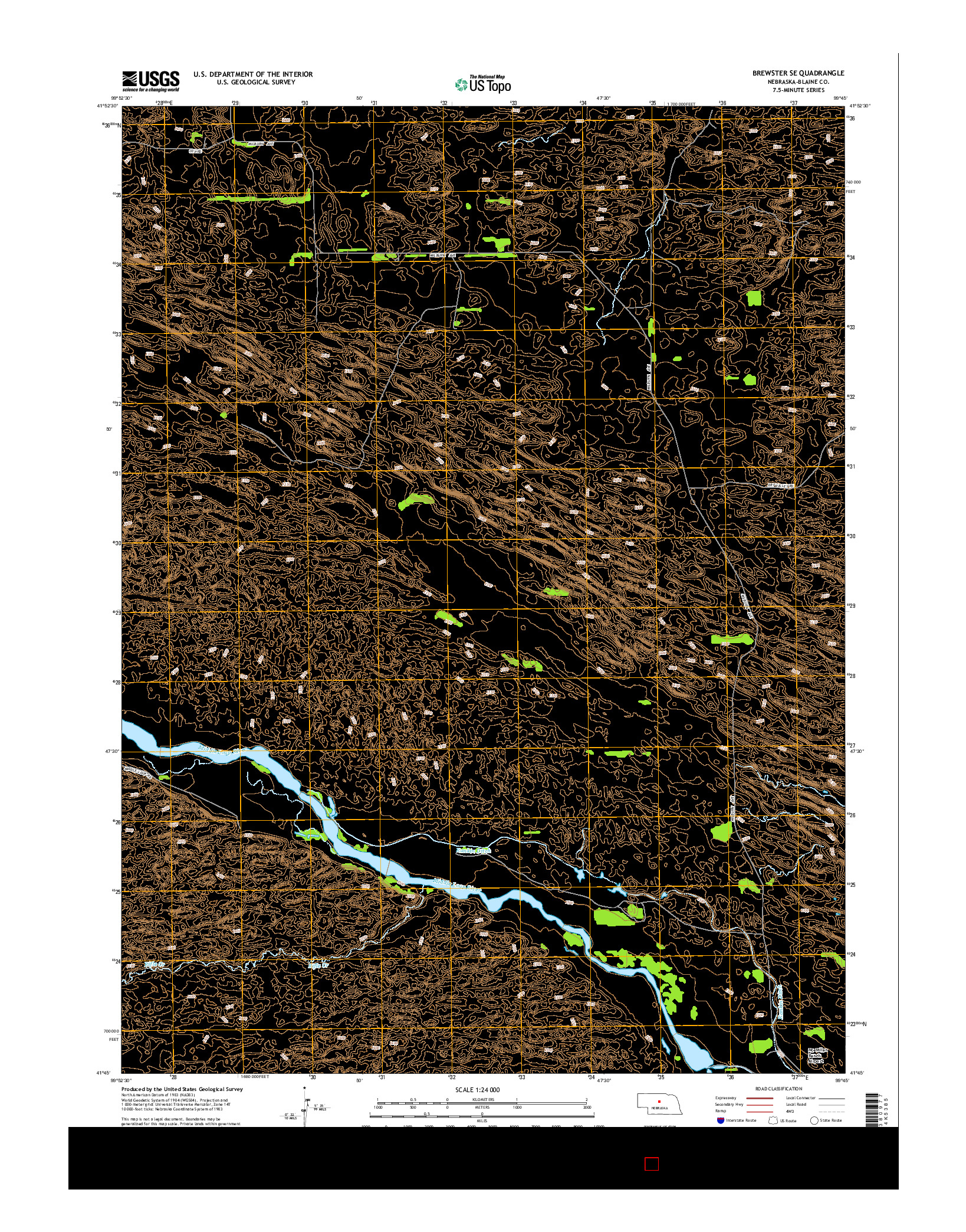 USGS US TOPO 7.5-MINUTE MAP FOR BREWSTER SE, NE 2014