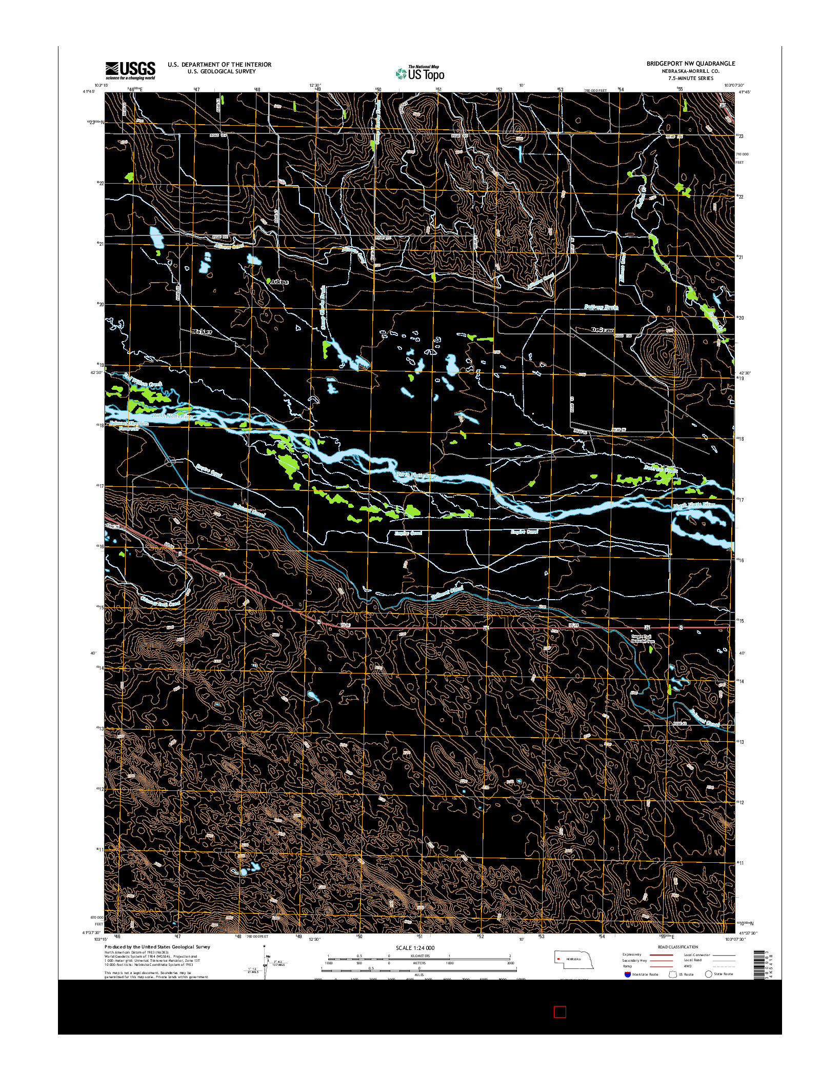 USGS US TOPO 7.5-MINUTE MAP FOR BRIDGEPORT NW, NE 2014