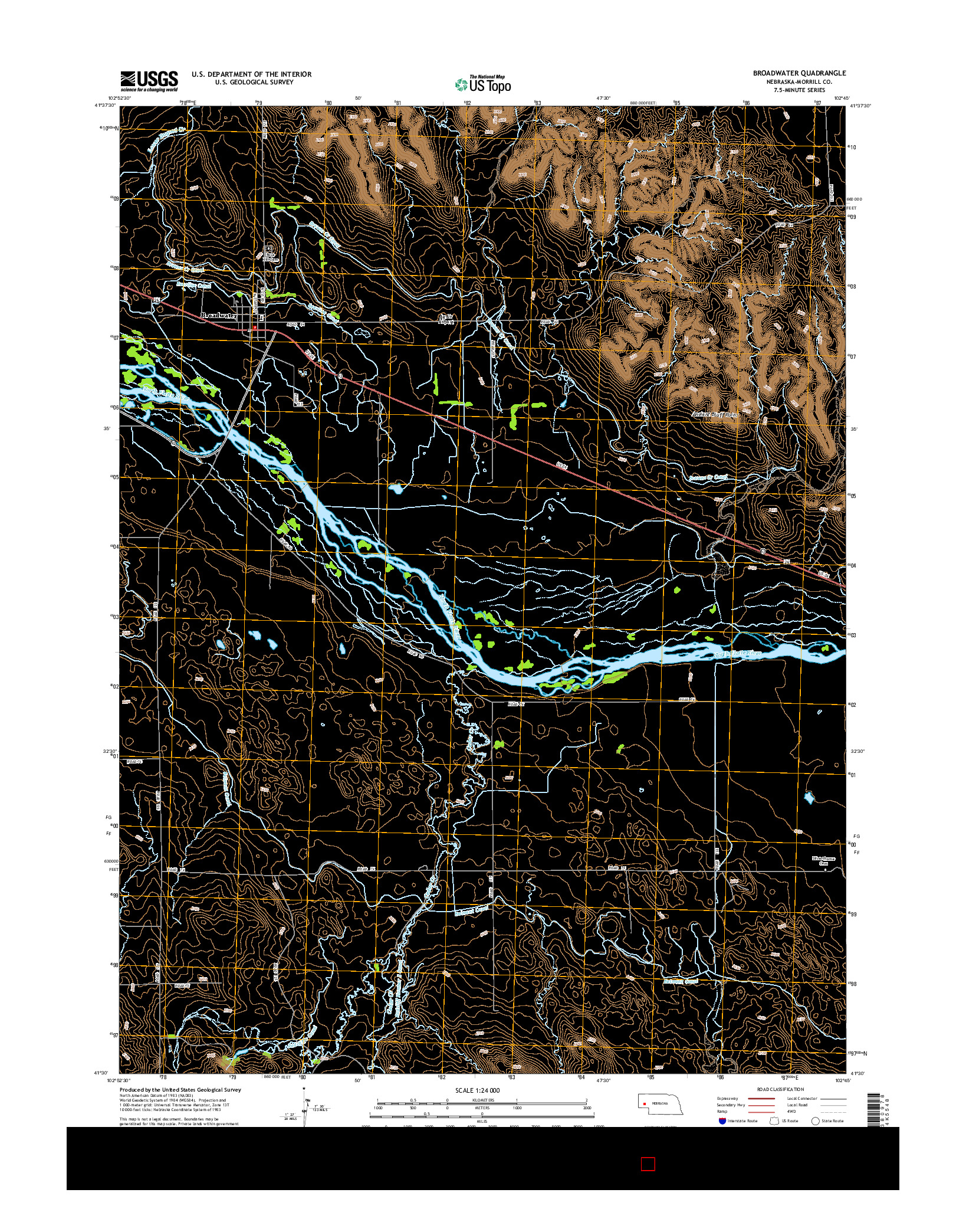 USGS US TOPO 7.5-MINUTE MAP FOR BROADWATER, NE 2014