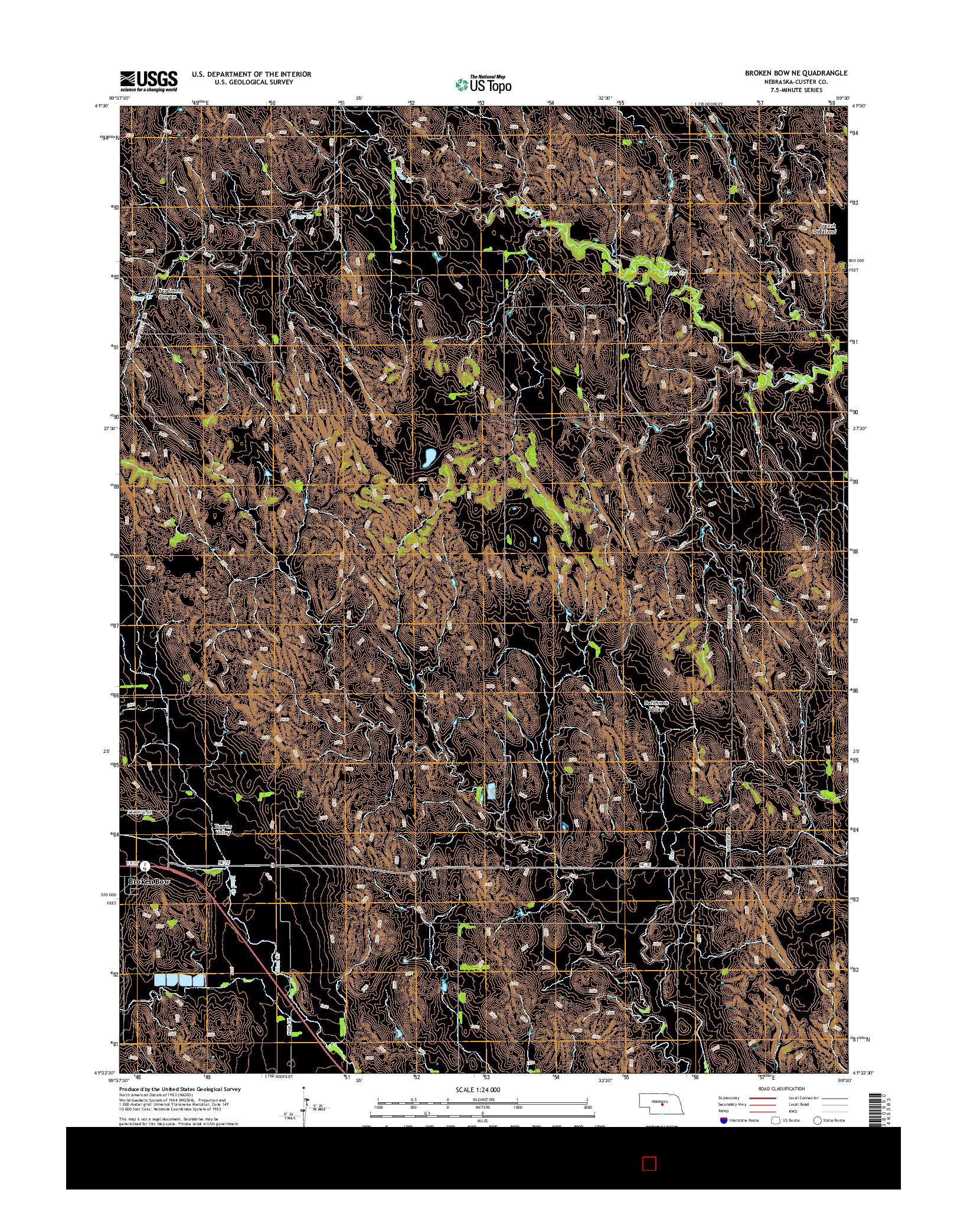 USGS US TOPO 7.5-MINUTE MAP FOR BROKEN BOW NE, NE 2014
