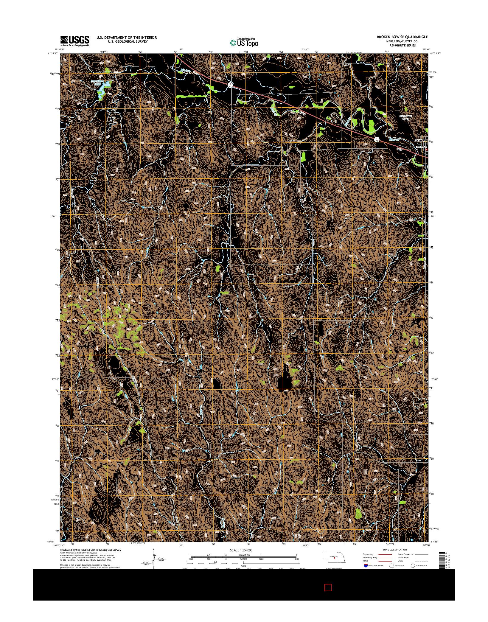 USGS US TOPO 7.5-MINUTE MAP FOR BROKEN BOW SE, NE 2014