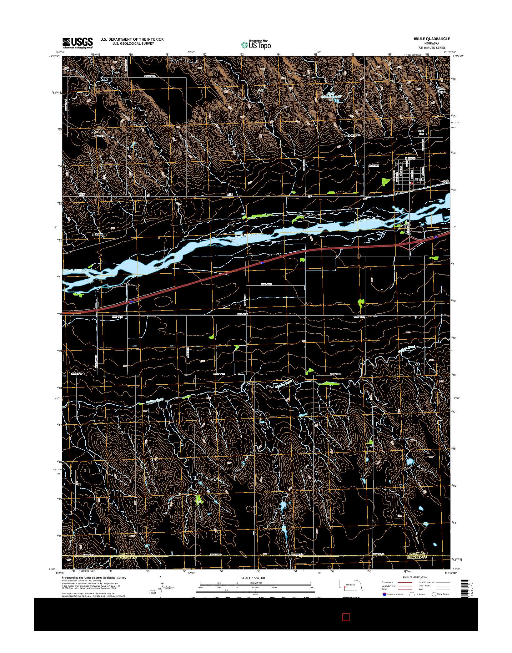 USGS US TOPO 7.5-MINUTE MAP FOR BRULE, NE 2014