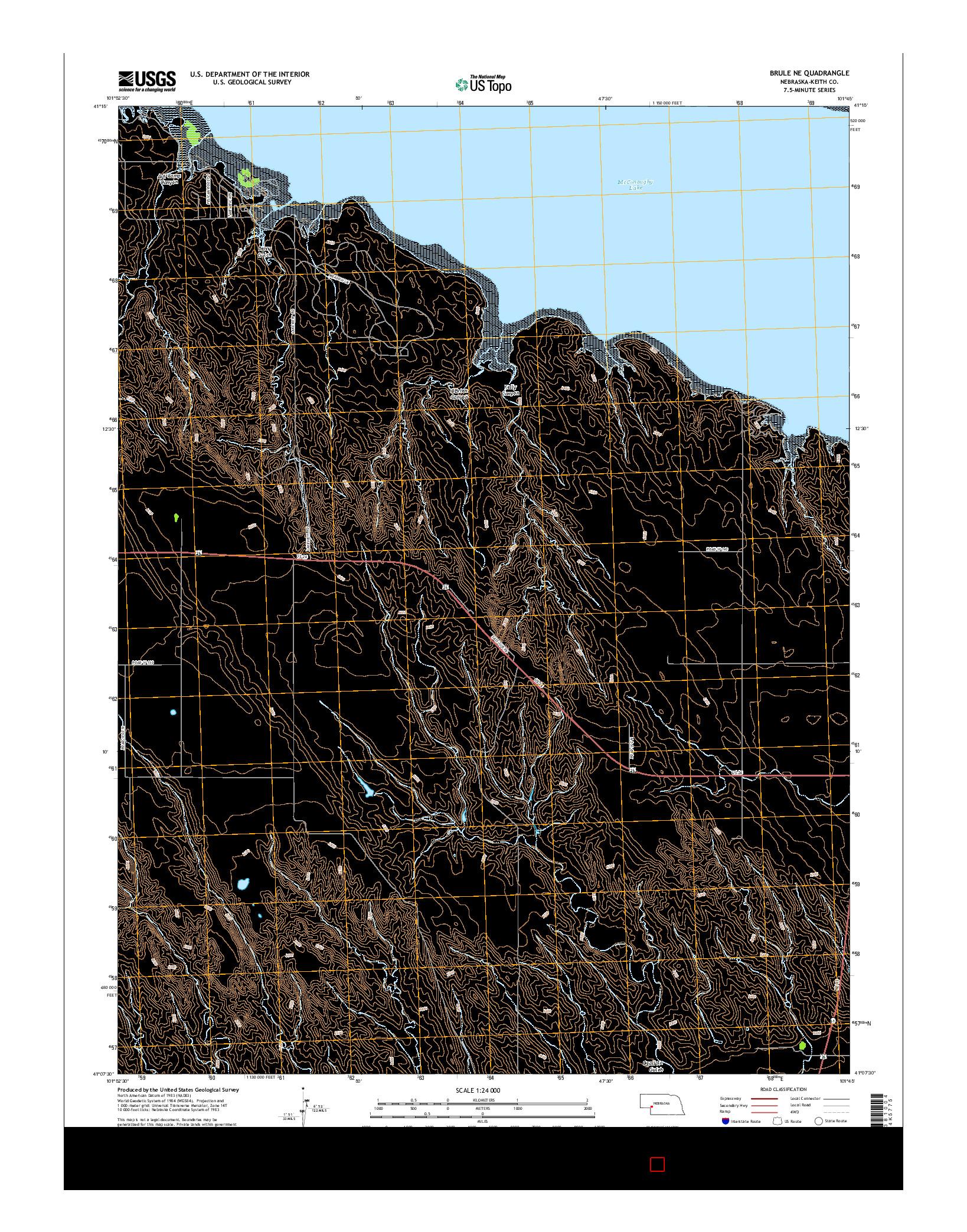 USGS US TOPO 7.5-MINUTE MAP FOR BRULE NE, NE 2014