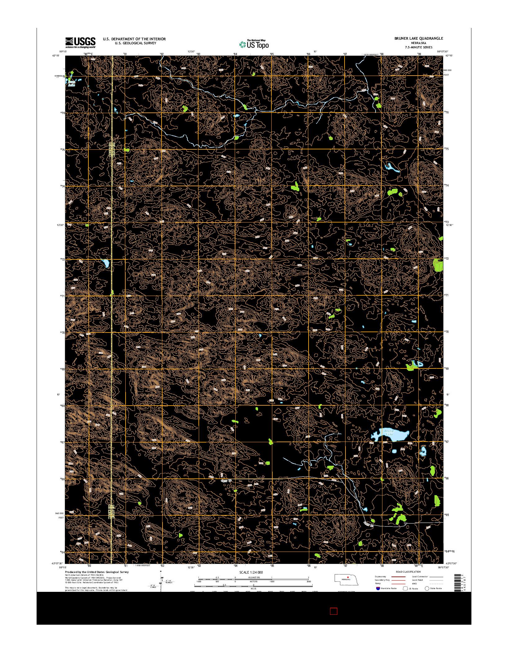 USGS US TOPO 7.5-MINUTE MAP FOR BRUNER LAKE, NE 2014