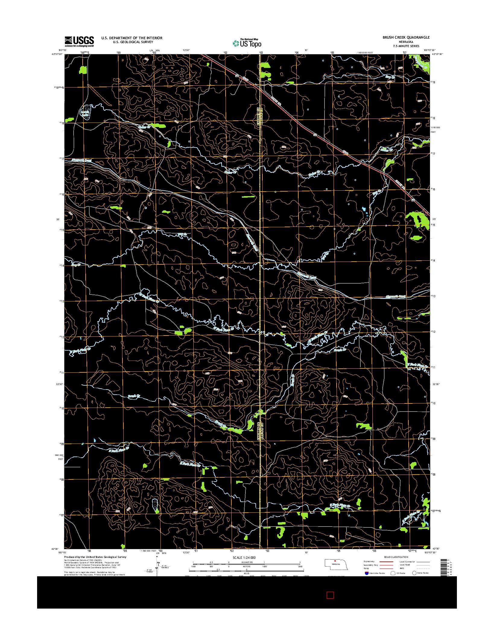 USGS US TOPO 7.5-MINUTE MAP FOR BRUSH CREEK, NE 2014