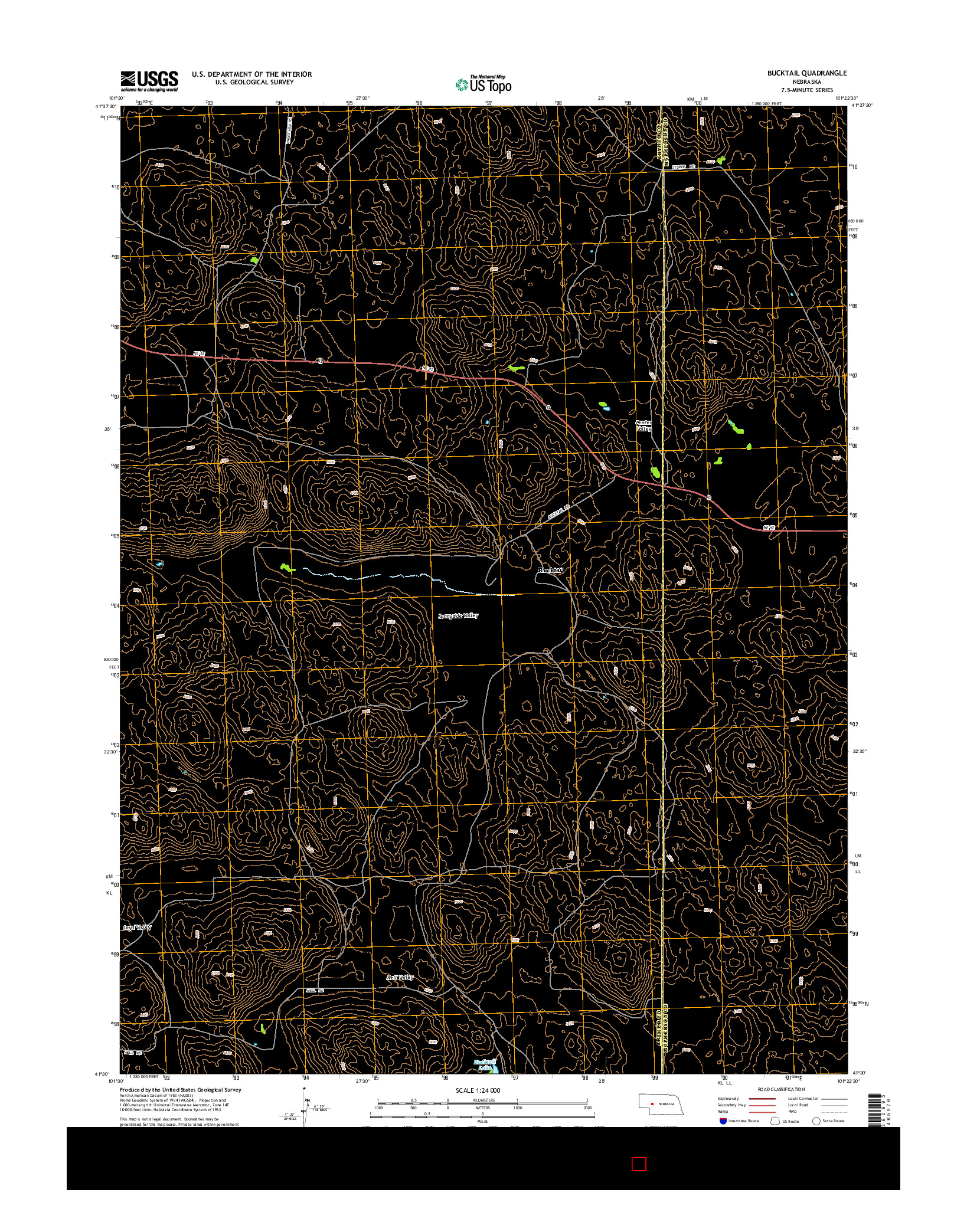 USGS US TOPO 7.5-MINUTE MAP FOR BUCKTAIL, NE 2014