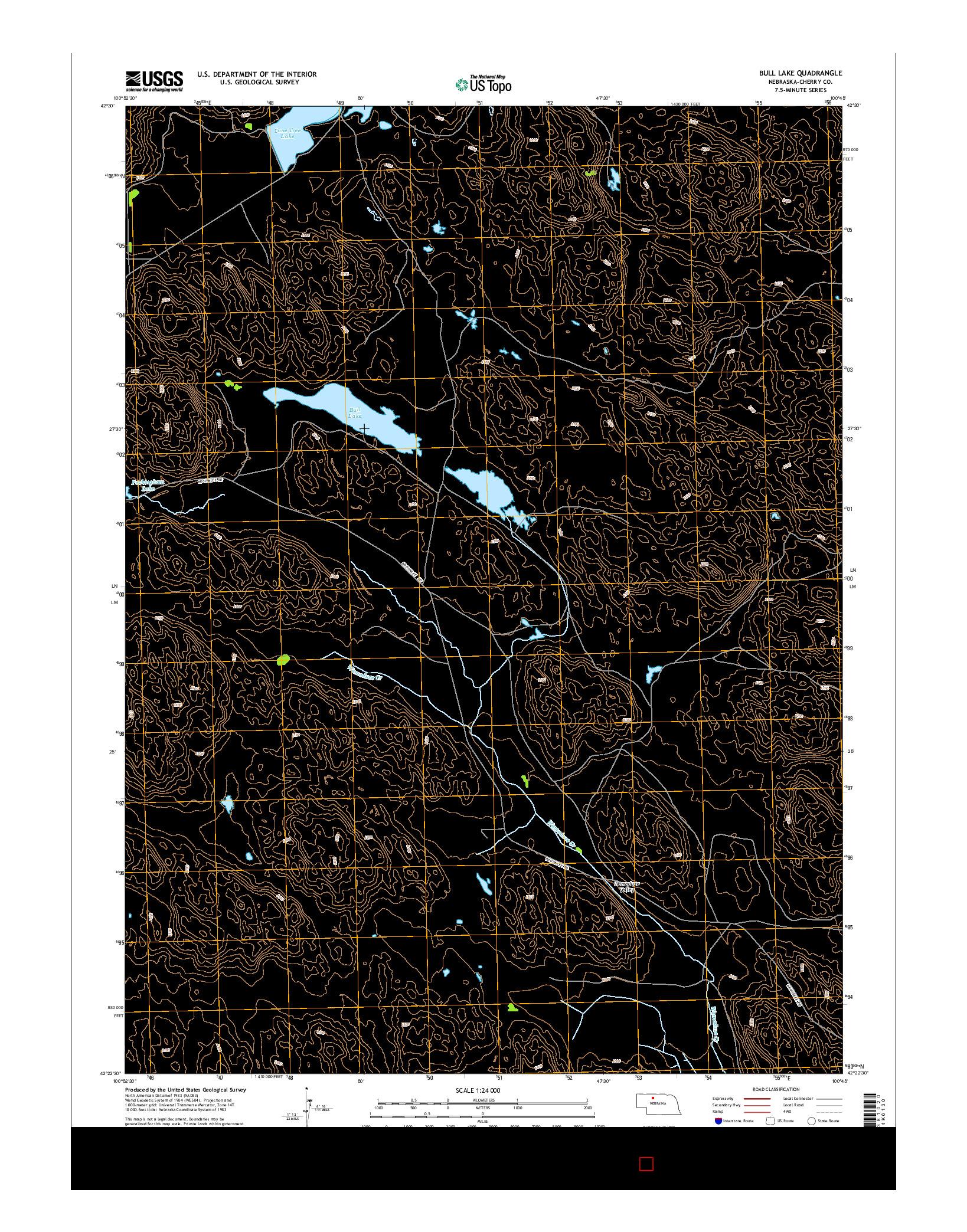 USGS US TOPO 7.5-MINUTE MAP FOR BULL LAKE, NE 2014