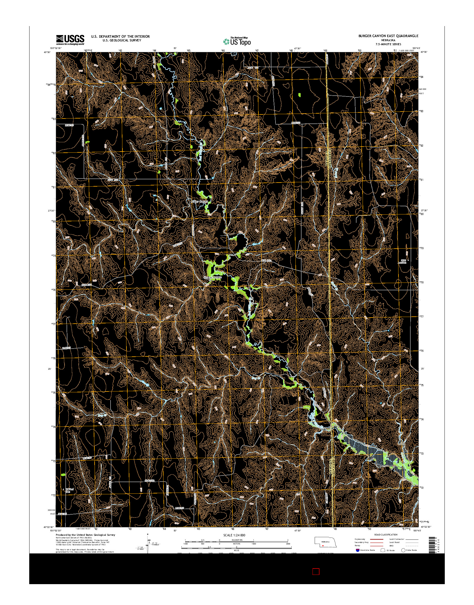 USGS US TOPO 7.5-MINUTE MAP FOR BURGER CANYON EAST, NE 2014