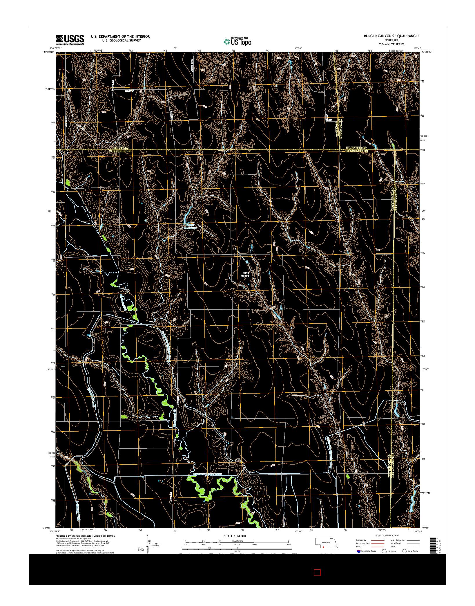 USGS US TOPO 7.5-MINUTE MAP FOR BURGER CANYON SE, NE 2014