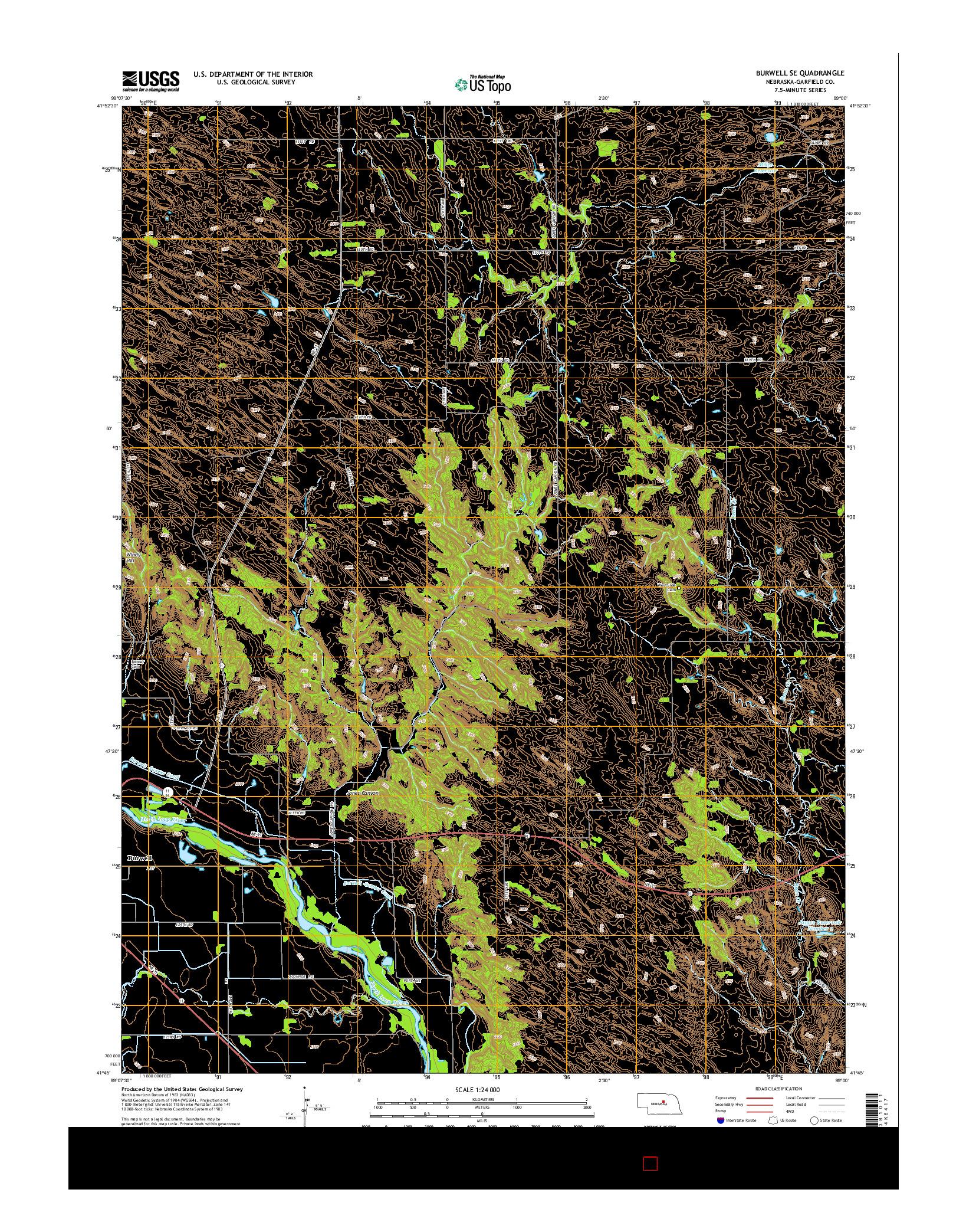 USGS US TOPO 7.5-MINUTE MAP FOR BURWELL SE, NE 2014