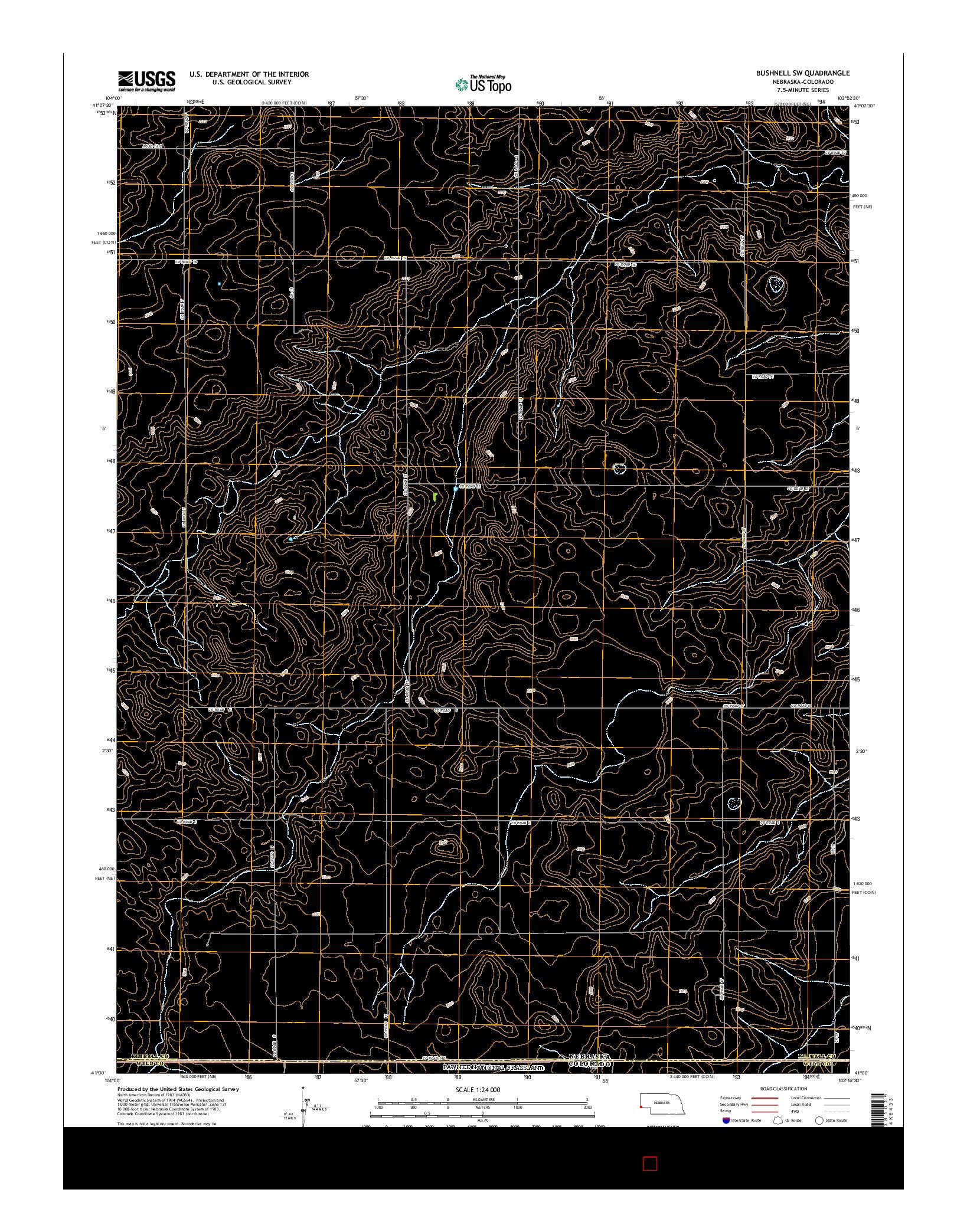 USGS US TOPO 7.5-MINUTE MAP FOR BUSHNELL SW, NE-CO 2014