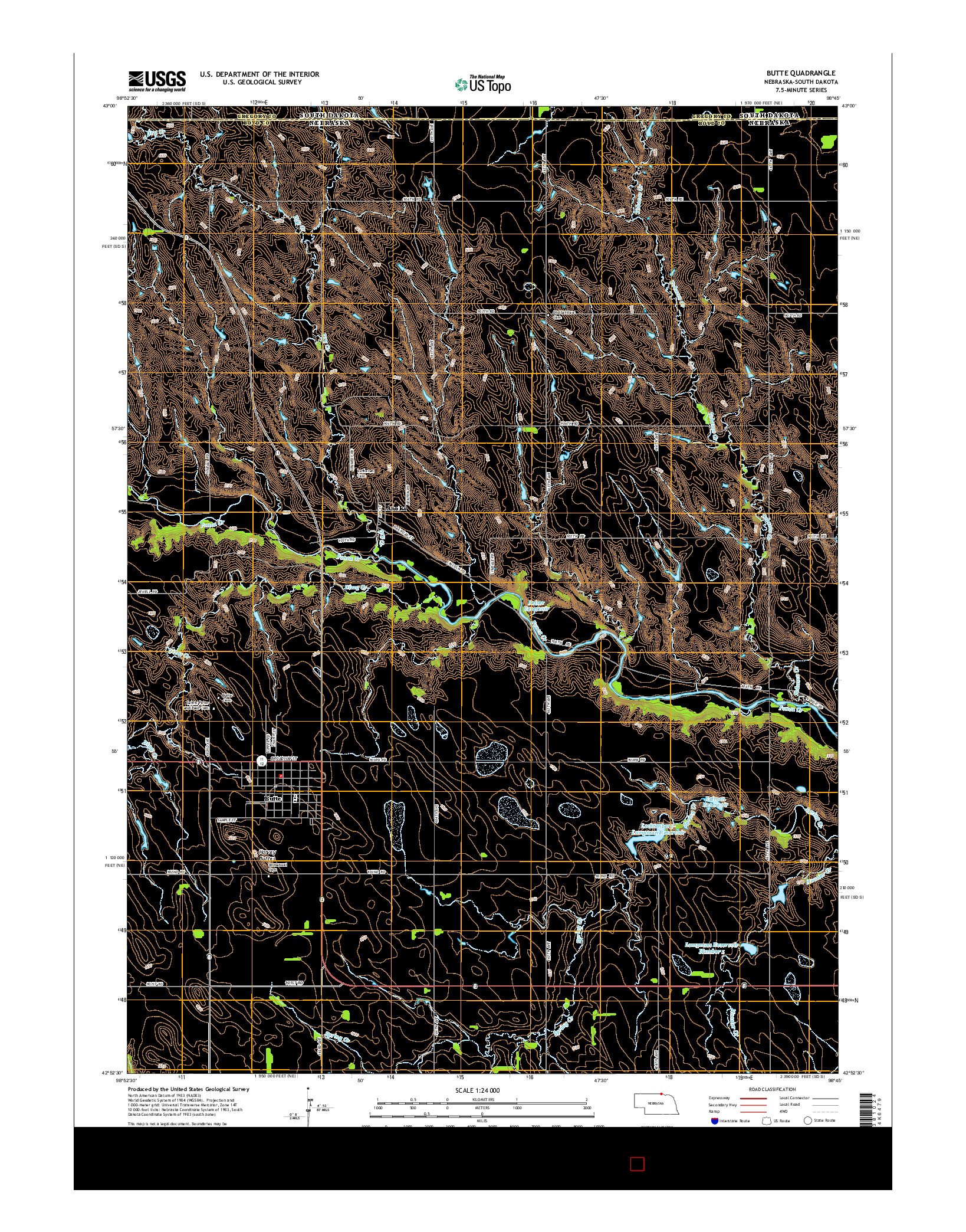 USGS US TOPO 7.5-MINUTE MAP FOR BUTTE, NE-SD 2014