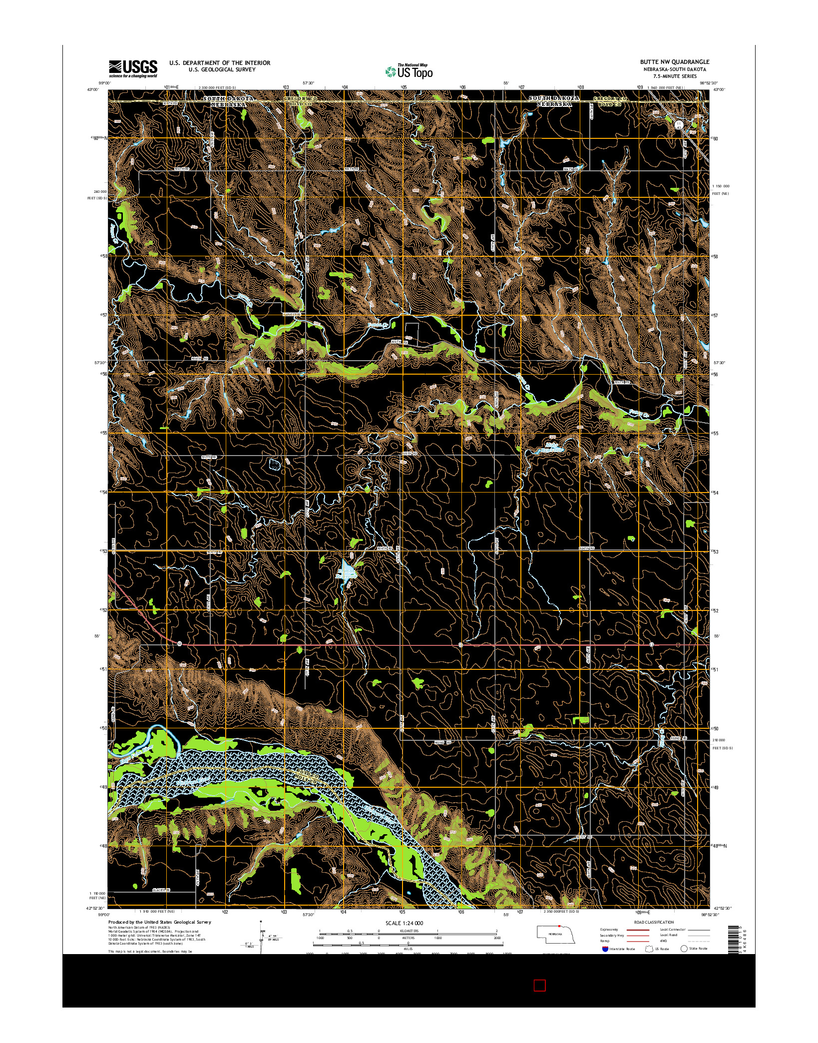 USGS US TOPO 7.5-MINUTE MAP FOR BUTTE NW, NE-SD 2014