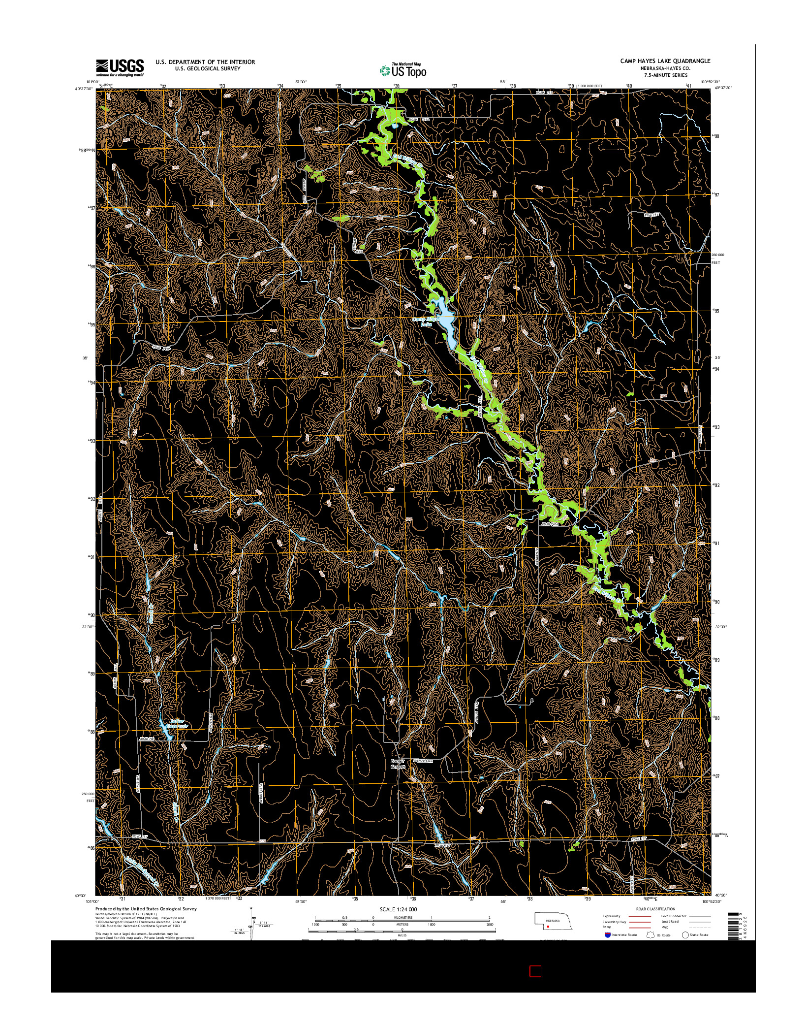 USGS US TOPO 7.5-MINUTE MAP FOR CAMP HAYES LAKE, NE 2014