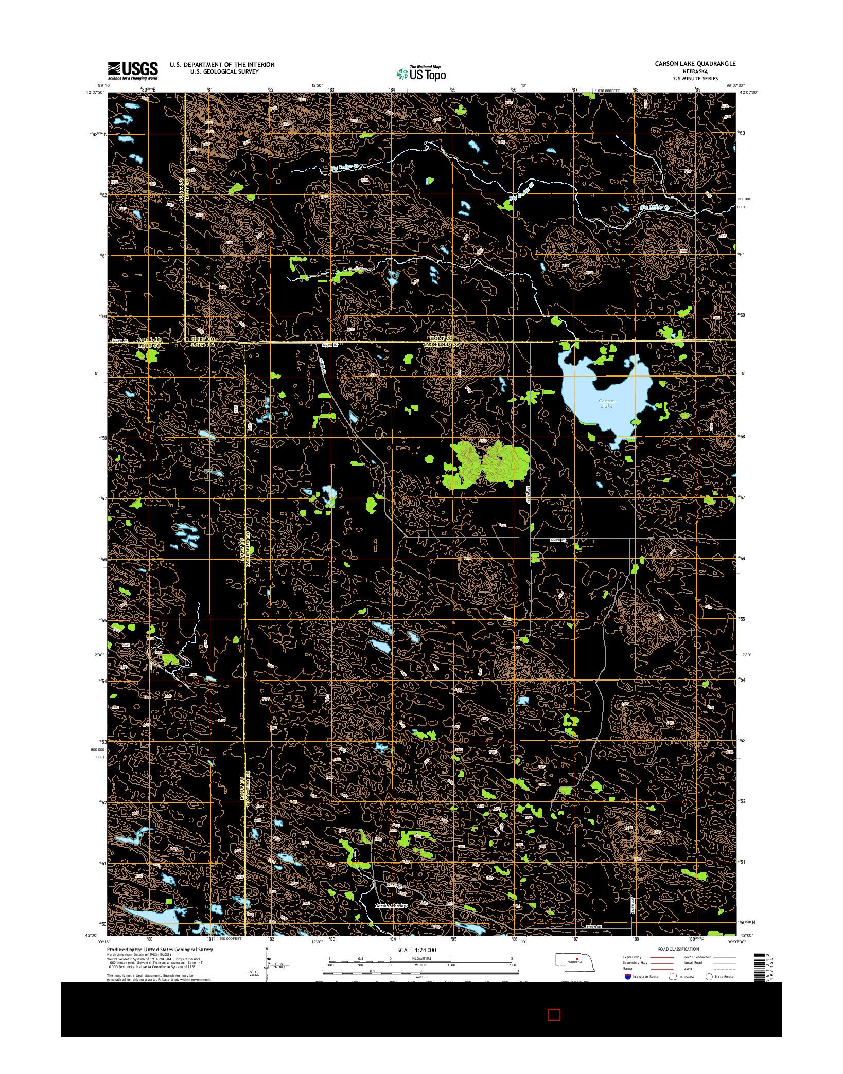 USGS US TOPO 7.5-MINUTE MAP FOR CARSON LAKE, NE 2014