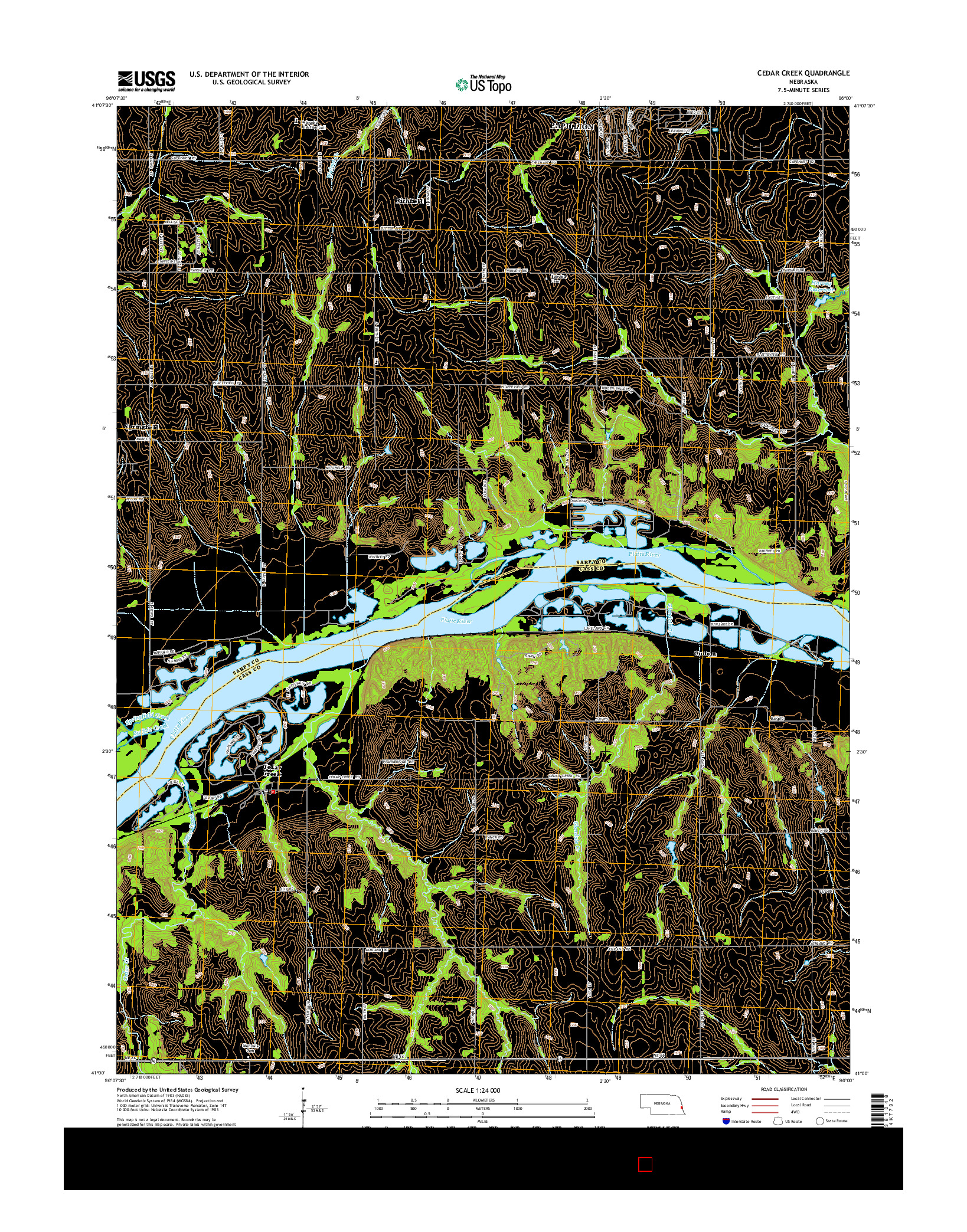 USGS US TOPO 7.5-MINUTE MAP FOR CEDAR CREEK, NE 2014