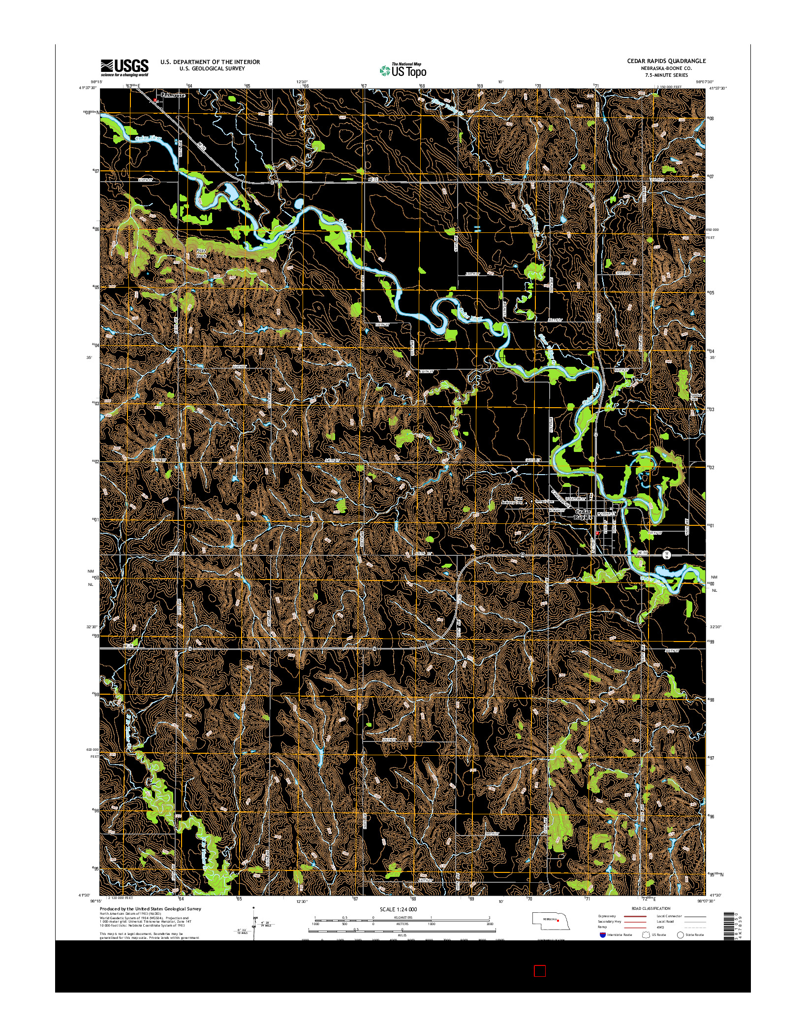 USGS US TOPO 7.5-MINUTE MAP FOR CEDAR RAPIDS, NE 2014