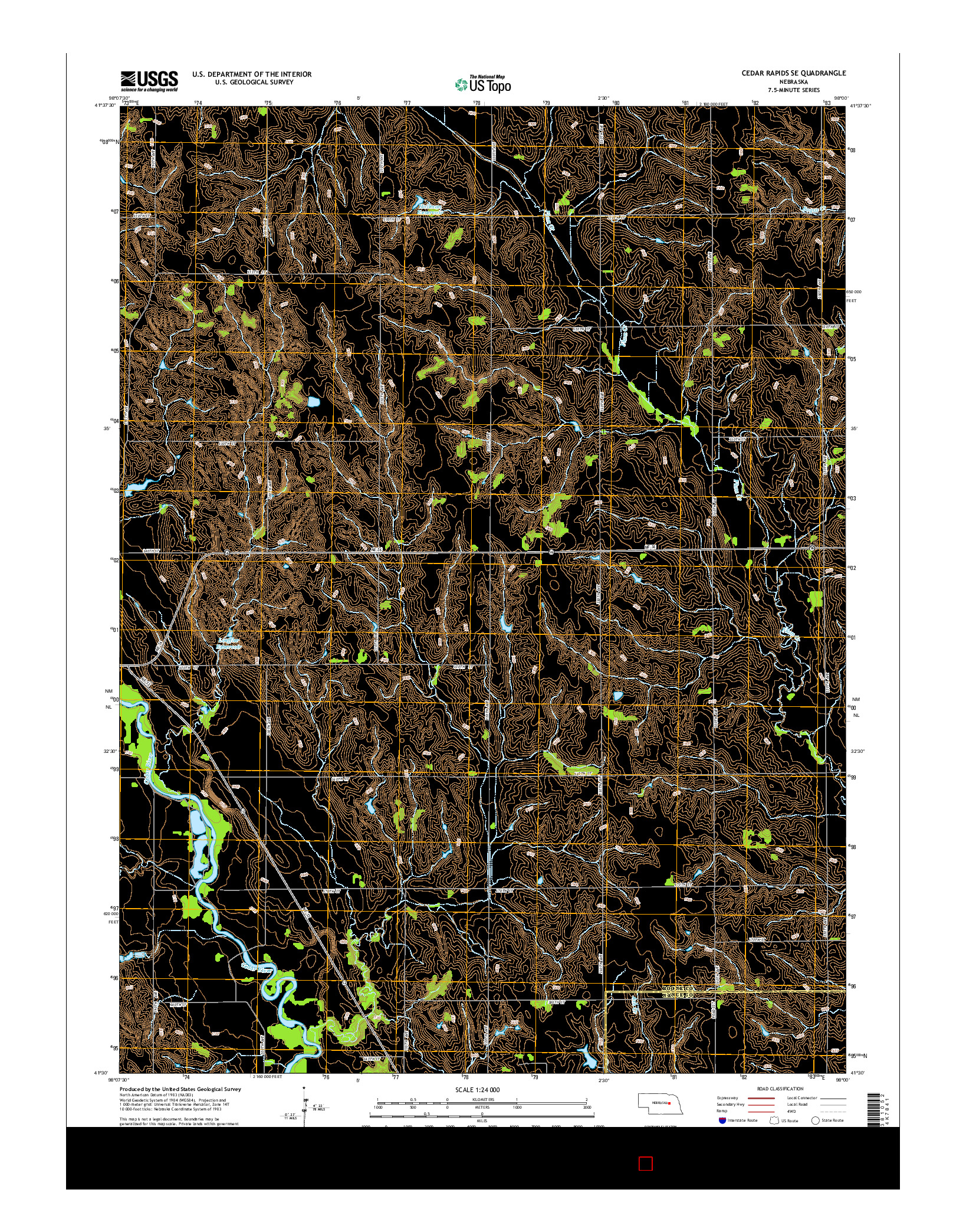 USGS US TOPO 7.5-MINUTE MAP FOR CEDAR RAPIDS SE, NE 2014