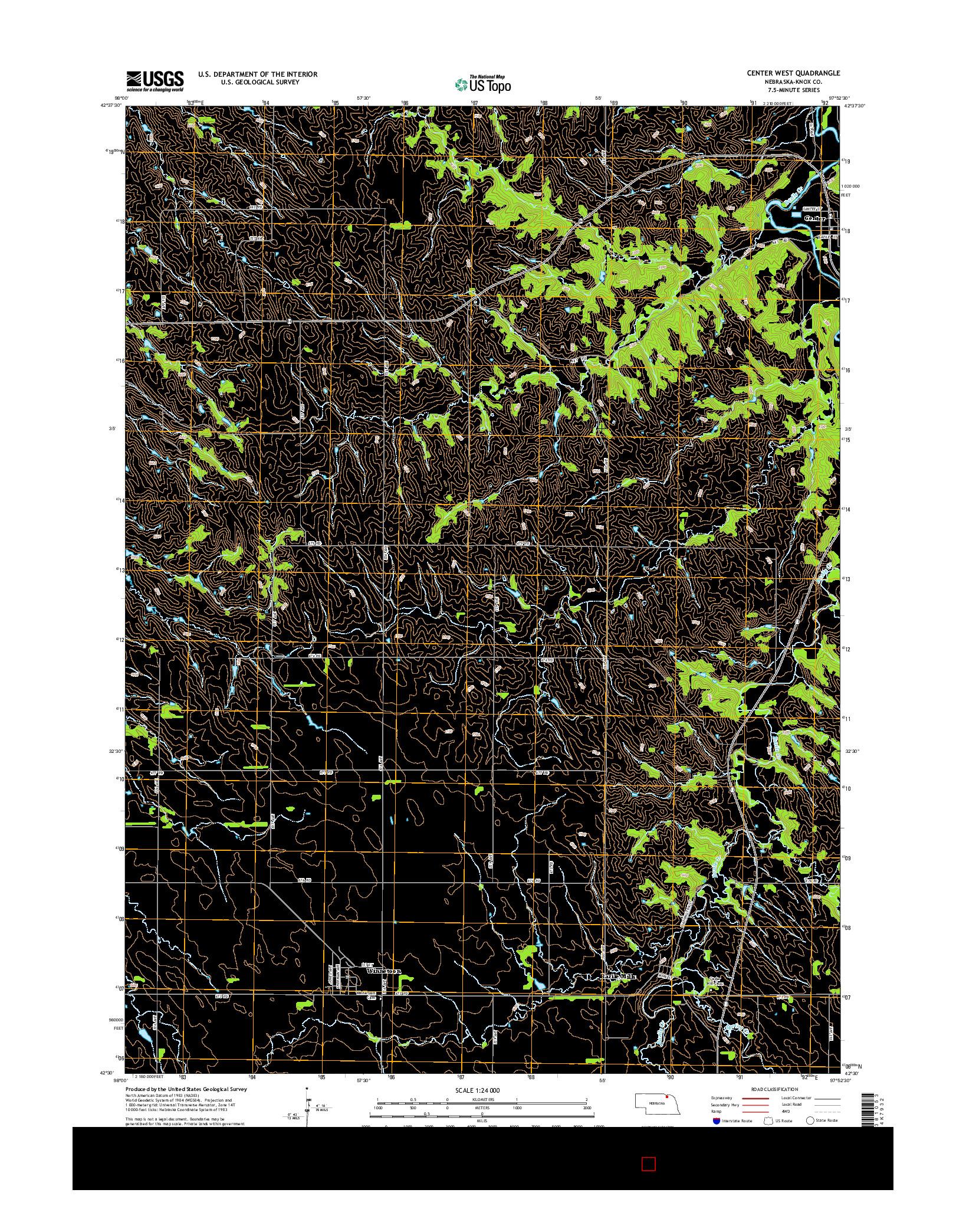 USGS US TOPO 7.5-MINUTE MAP FOR CENTER WEST, NE 2014
