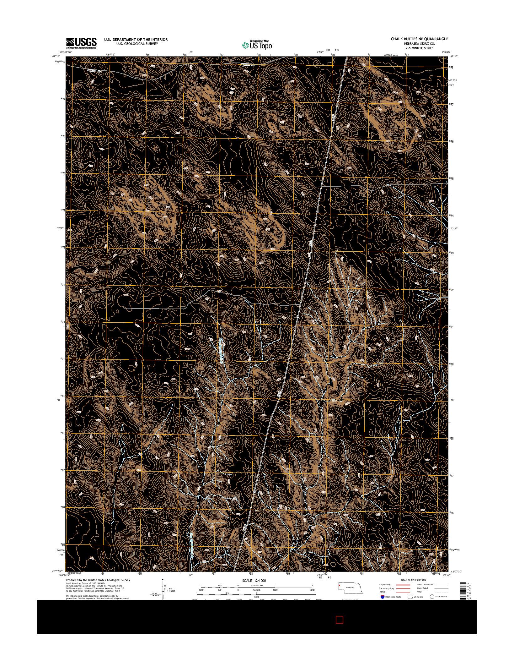 USGS US TOPO 7.5-MINUTE MAP FOR CHALK BUTTES NE, NE 2014