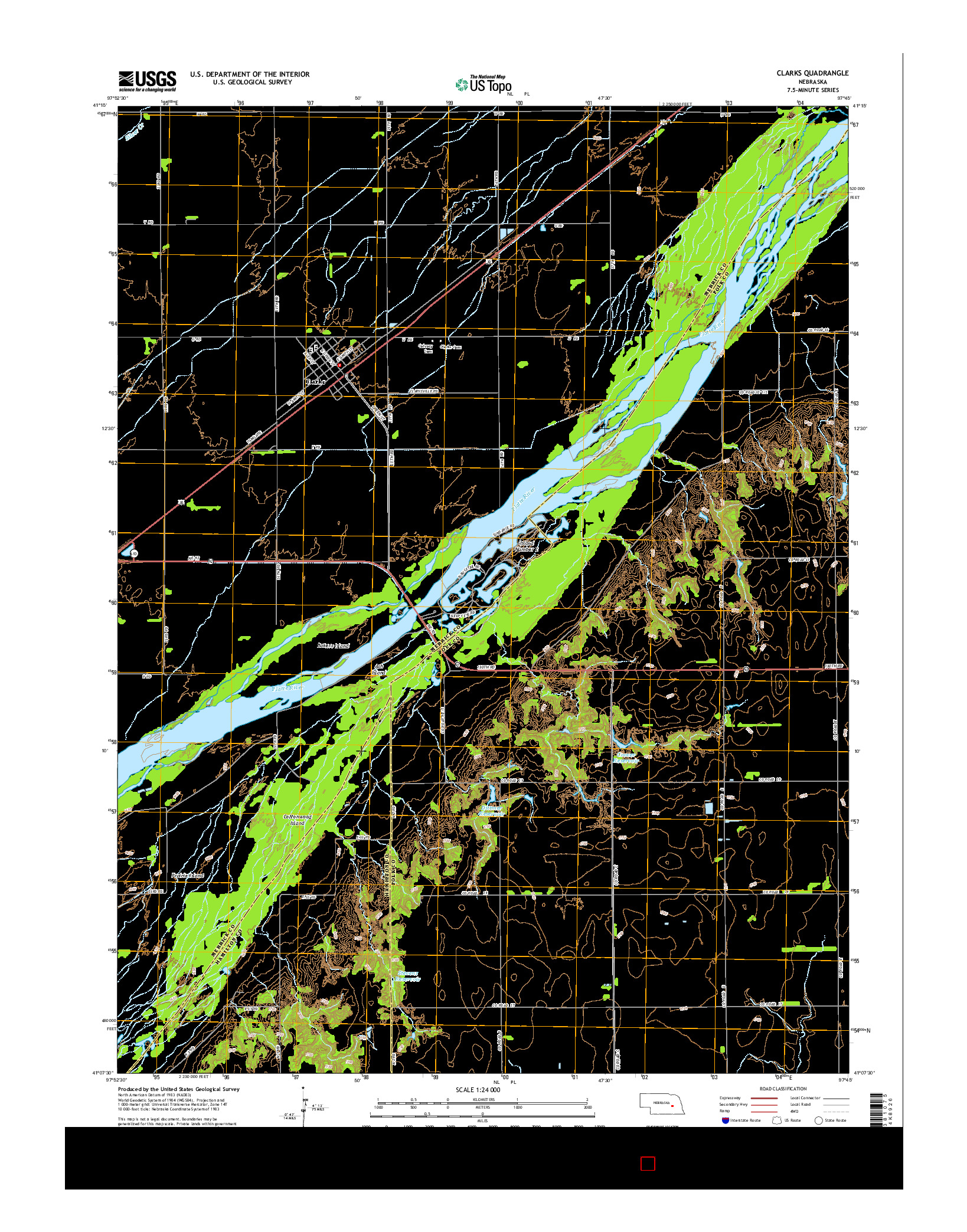 USGS US TOPO 7.5-MINUTE MAP FOR CLARKS, NE 2014