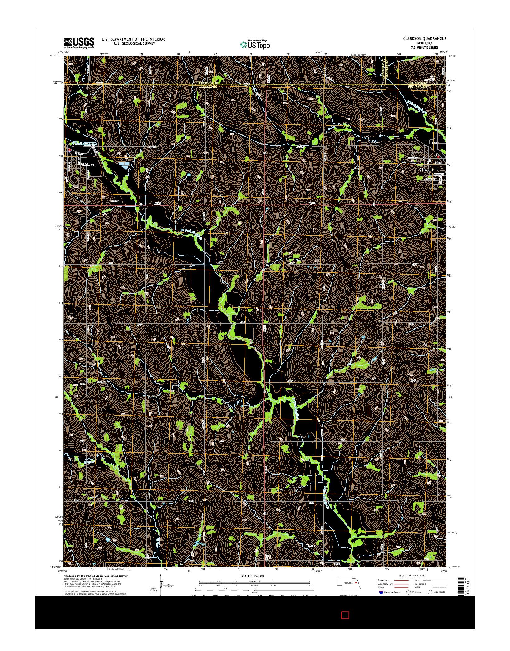 USGS US TOPO 7.5-MINUTE MAP FOR CLARKSON, NE 2014