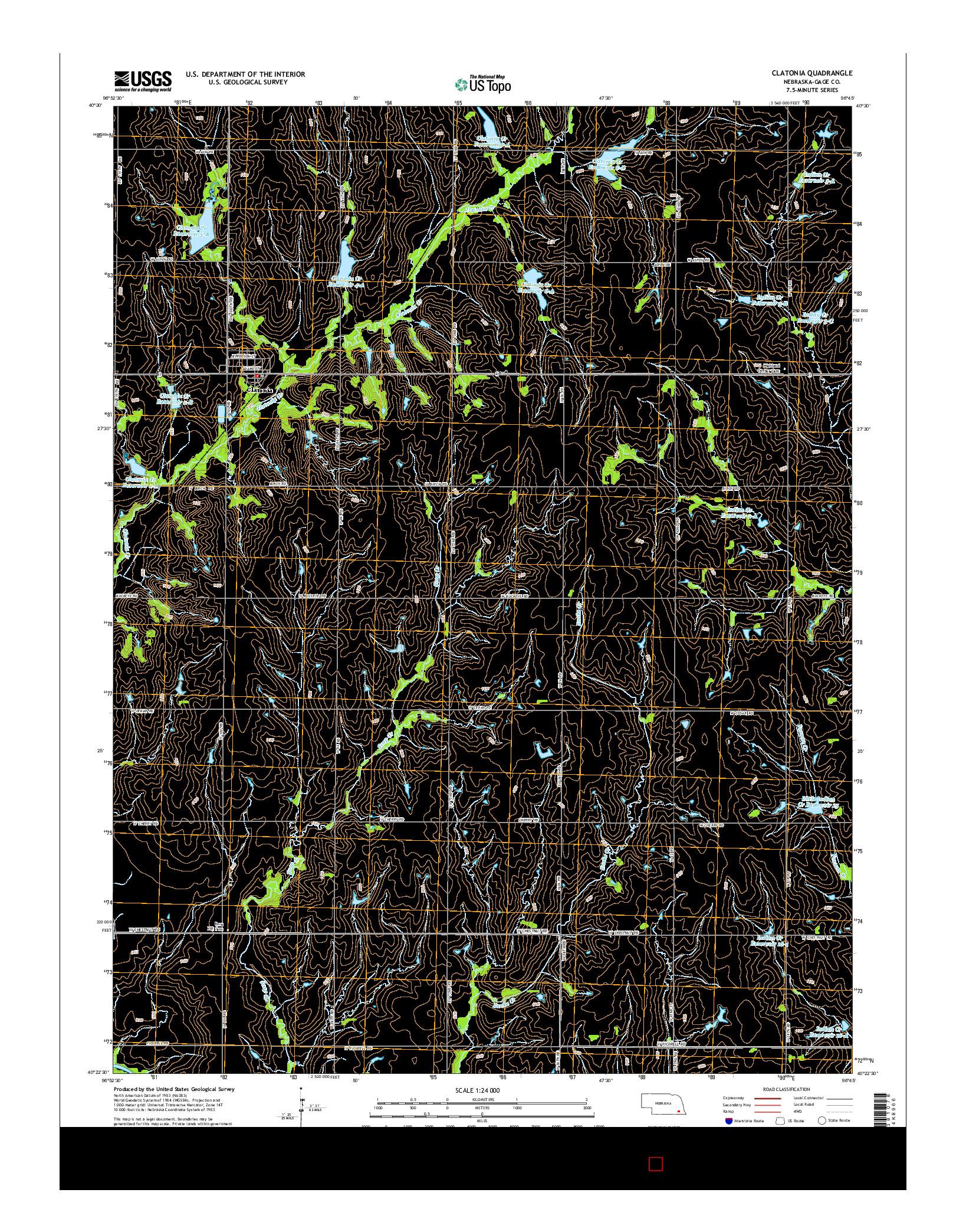 USGS US TOPO 7.5-MINUTE MAP FOR CLATONIA, NE 2014