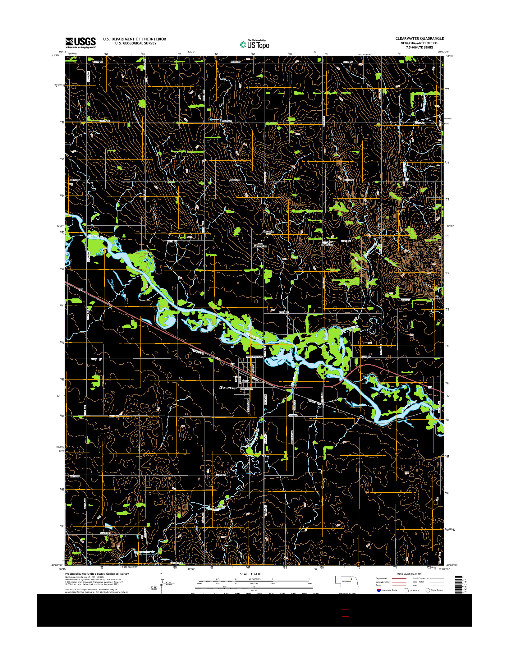 USGS US TOPO 7.5-MINUTE MAP FOR CLEARWATER, NE 2014