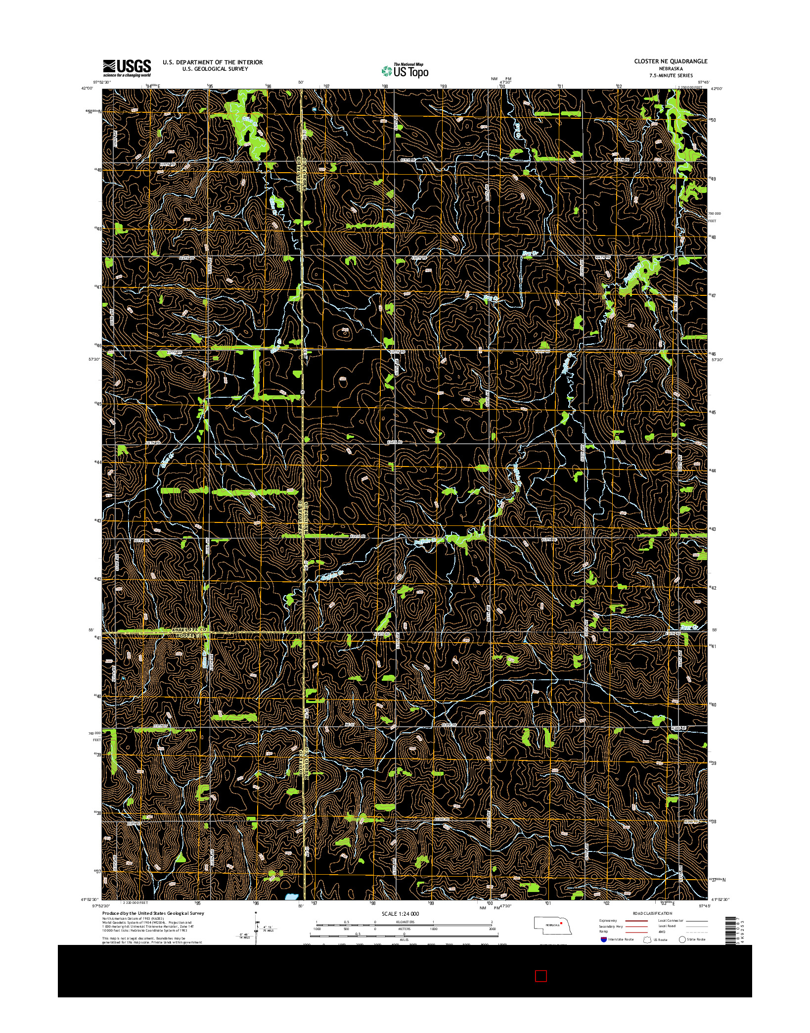 USGS US TOPO 7.5-MINUTE MAP FOR CLOSTER NE, NE 2014