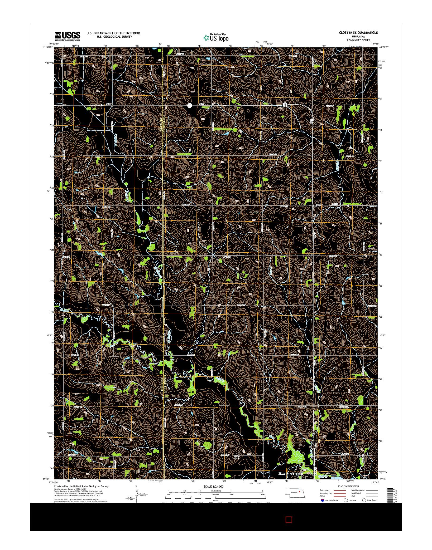 USGS US TOPO 7.5-MINUTE MAP FOR CLOSTER SE, NE 2014