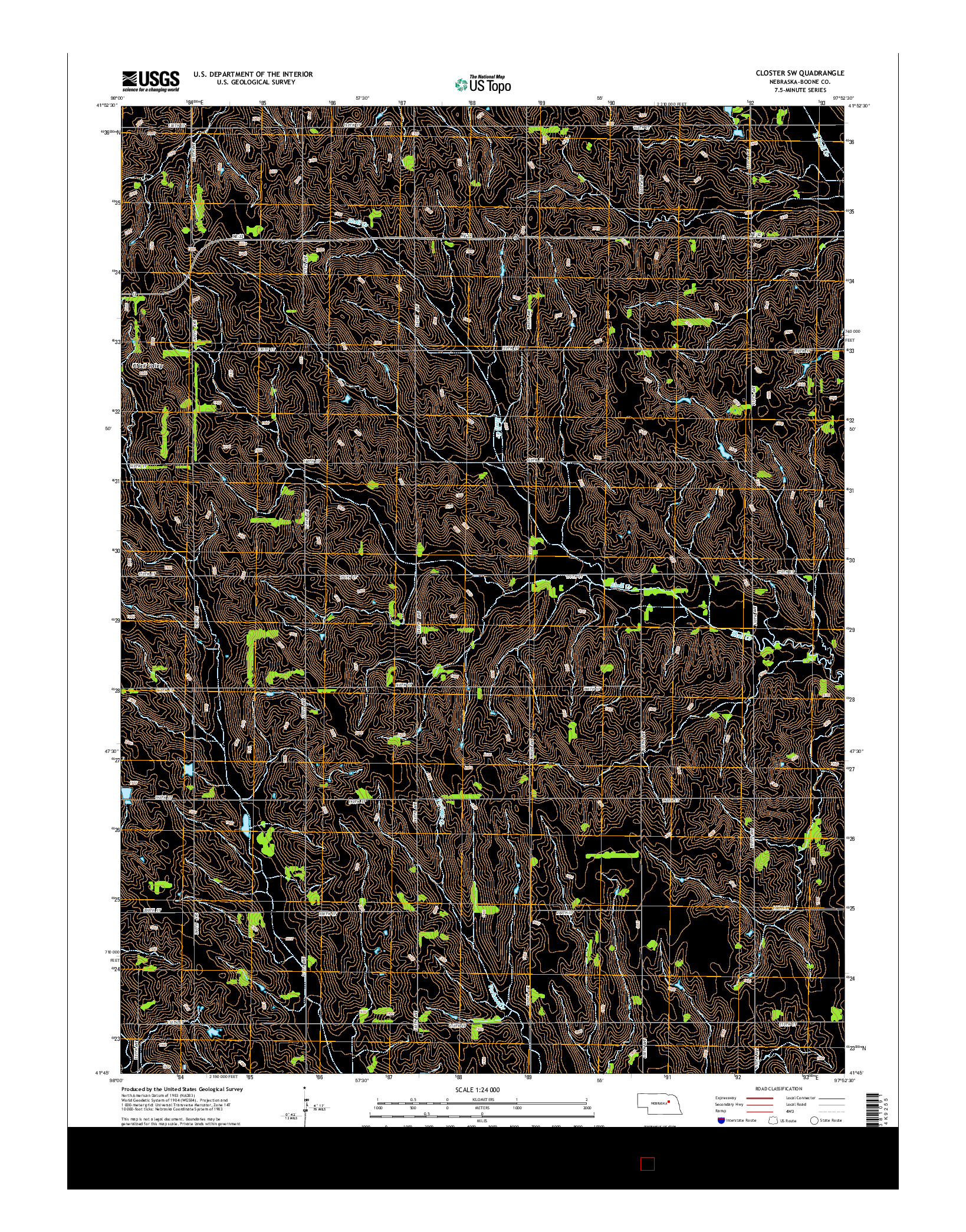 USGS US TOPO 7.5-MINUTE MAP FOR CLOSTER SW, NE 2014