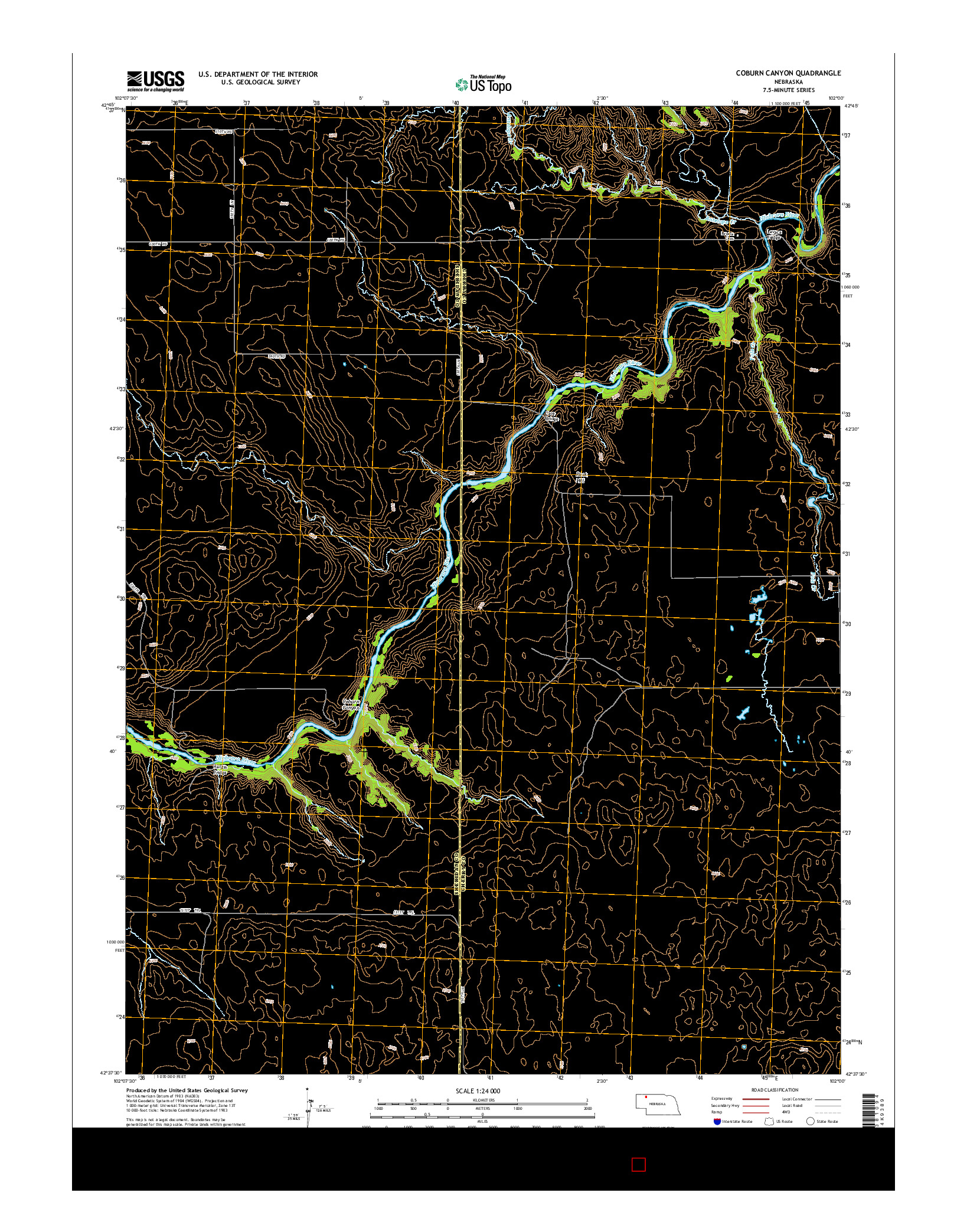 USGS US TOPO 7.5-MINUTE MAP FOR COBURN CANYON, NE 2014