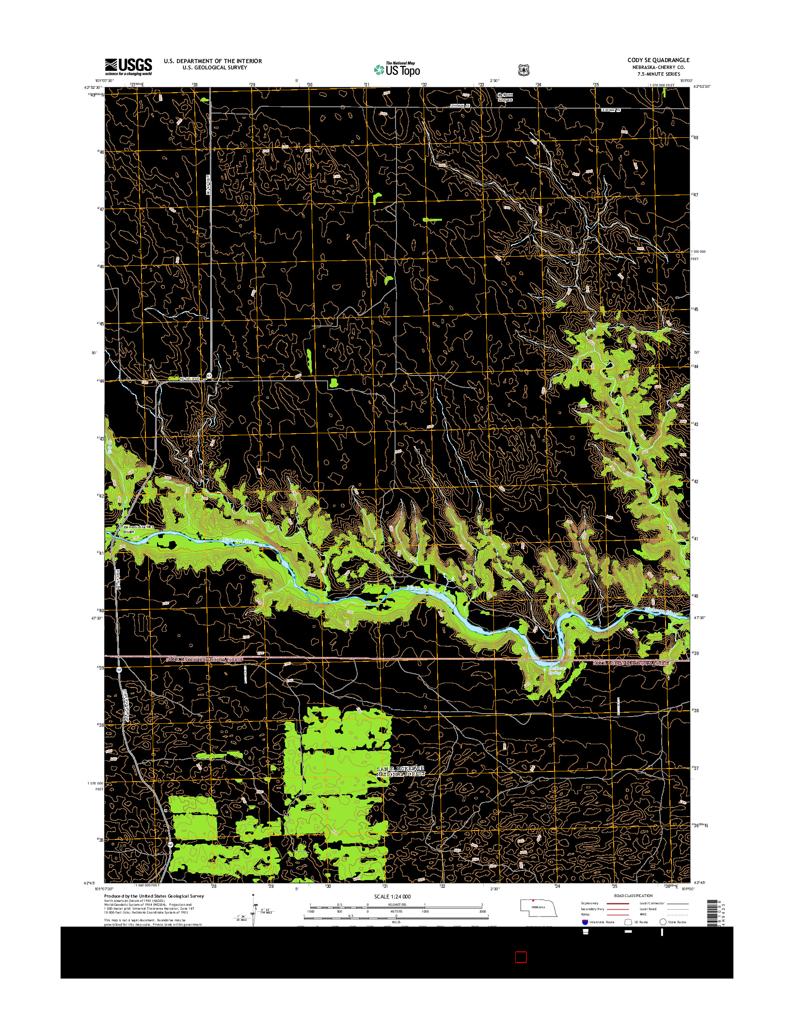 USGS US TOPO 7.5-MINUTE MAP FOR CODY SE, NE 2014