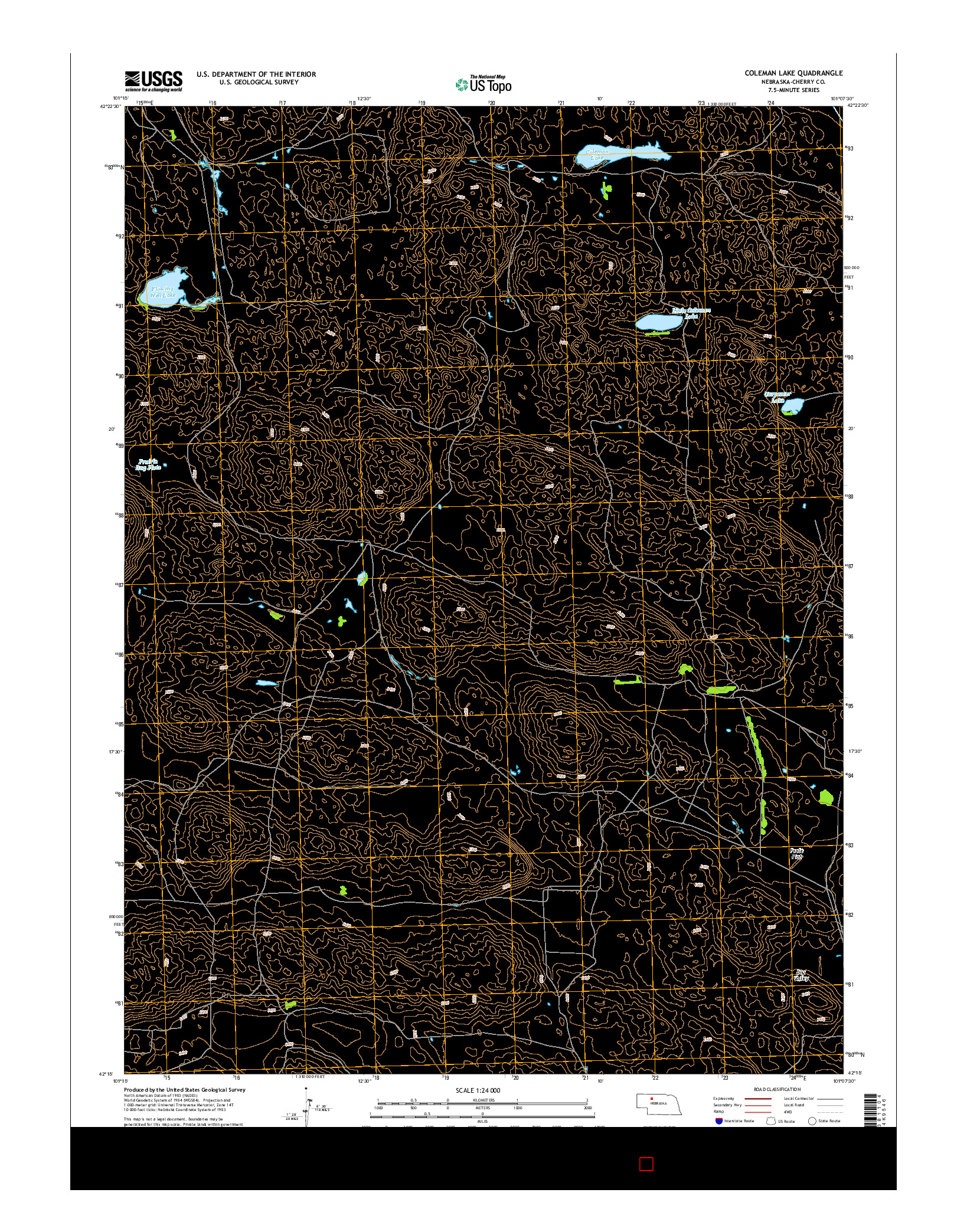 USGS US TOPO 7.5-MINUTE MAP FOR COLEMAN LAKE, NE 2014