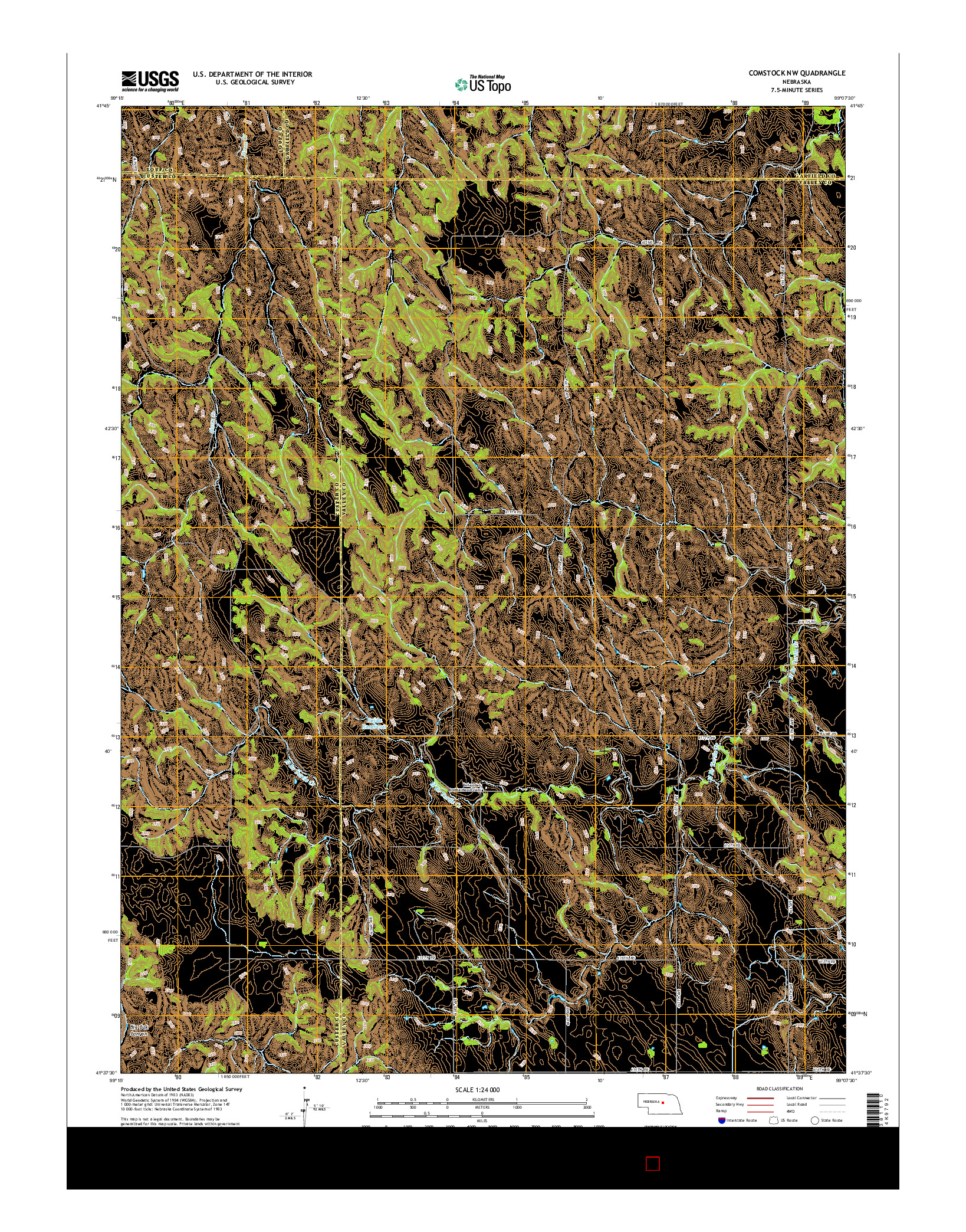 USGS US TOPO 7.5-MINUTE MAP FOR COMSTOCK NW, NE 2014