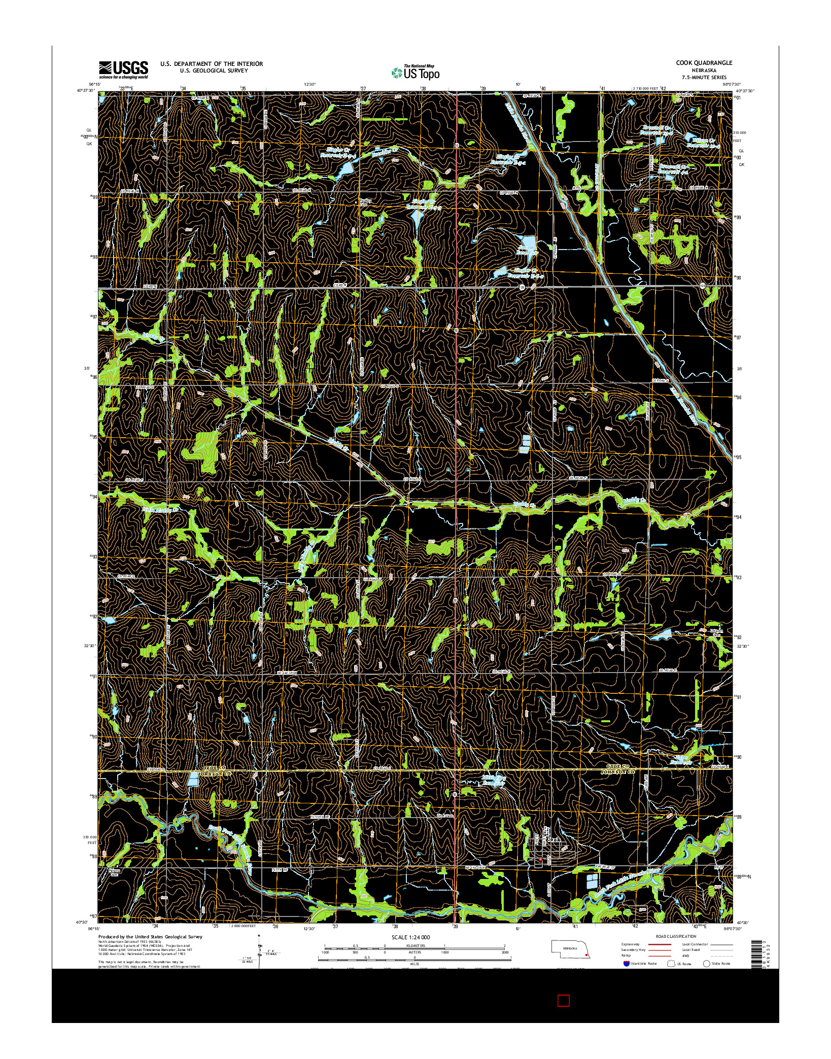 USGS US TOPO 7.5-MINUTE MAP FOR COOK, NE 2014
