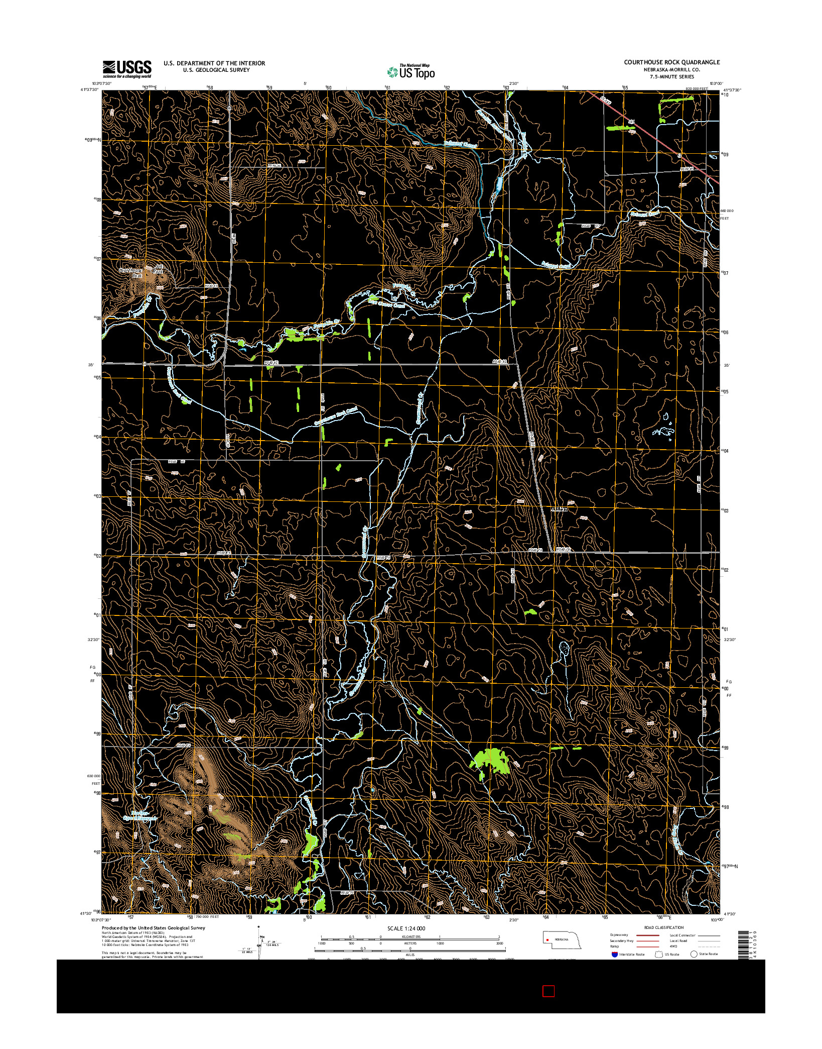 USGS US TOPO 7.5-MINUTE MAP FOR COURTHOUSE ROCK, NE 2014