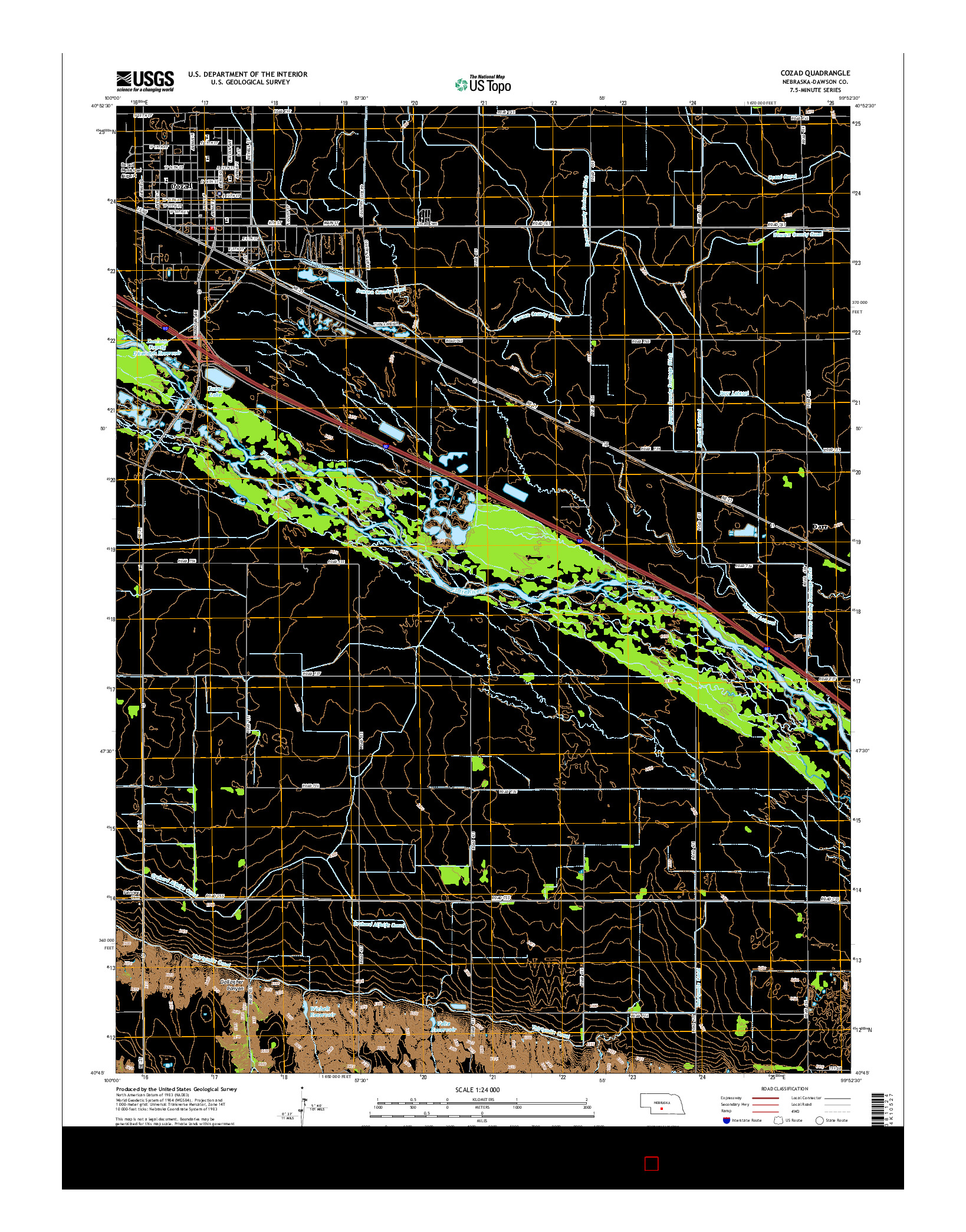 USGS US TOPO 7.5-MINUTE MAP FOR COZAD, NE 2014