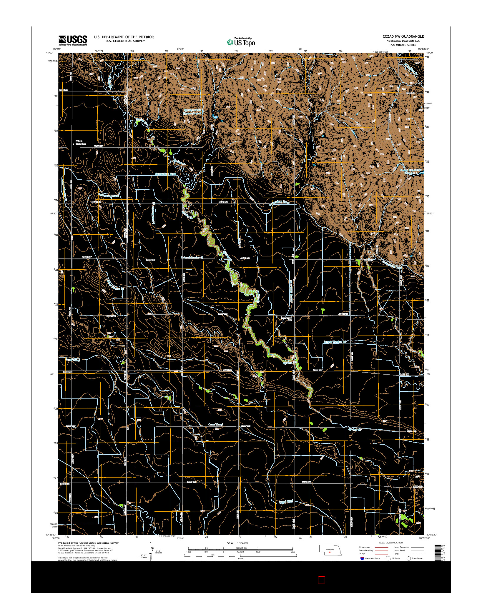 USGS US TOPO 7.5-MINUTE MAP FOR COZAD NW, NE 2014