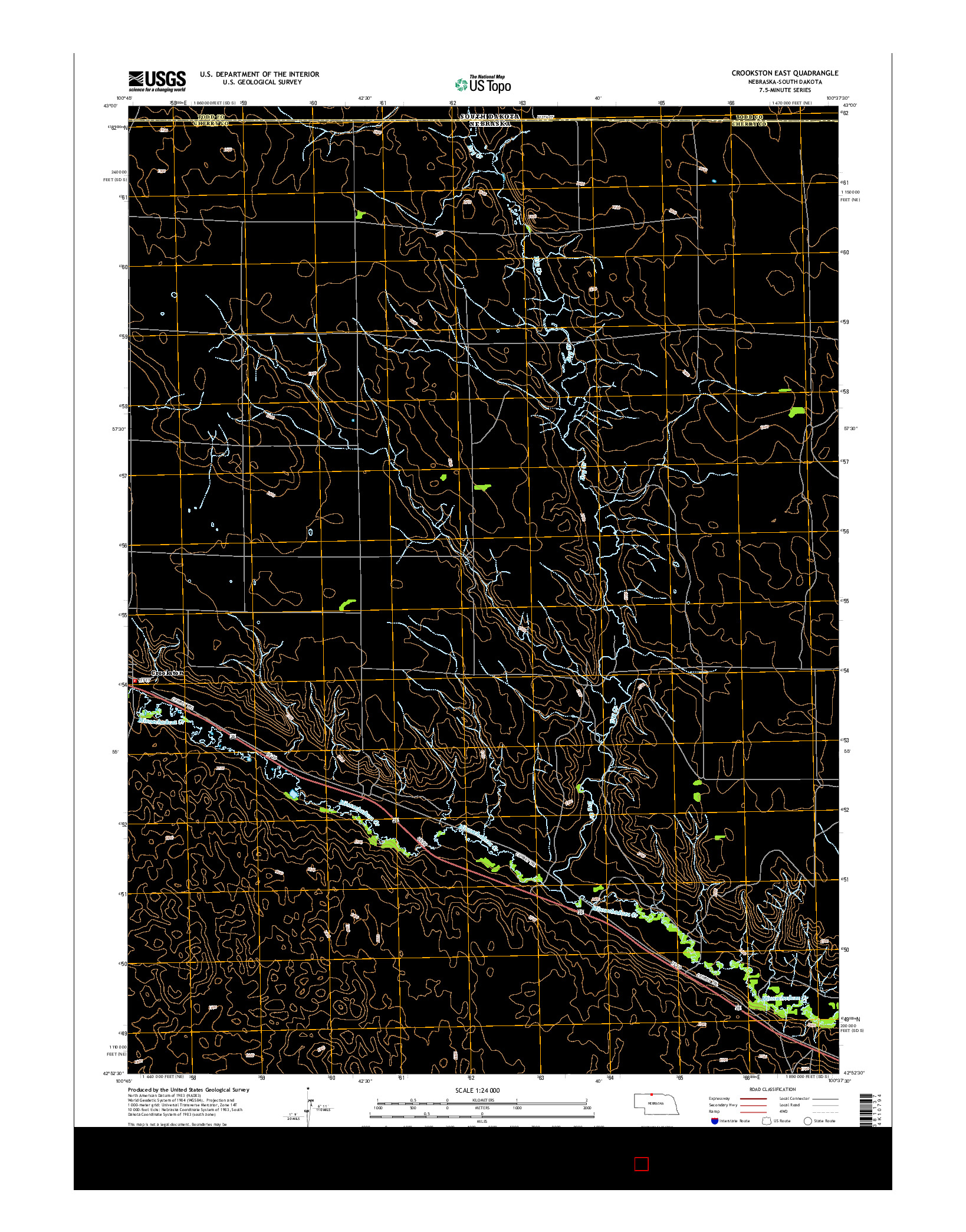 USGS US TOPO 7.5-MINUTE MAP FOR CROOKSTON EAST, NE-SD 2014